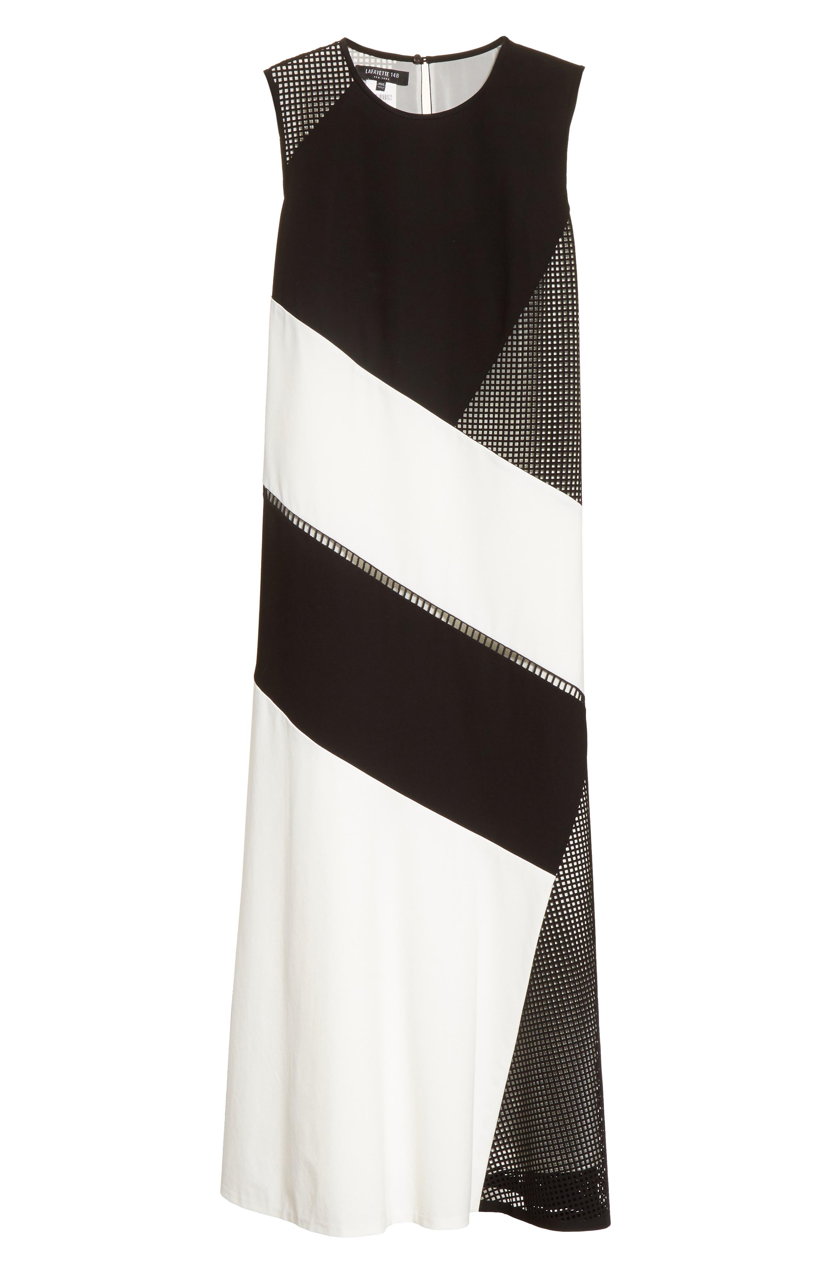 Nuri Laser Cut Midi Dress,                             Alternate thumbnail 7, color,                             Black/Cloud