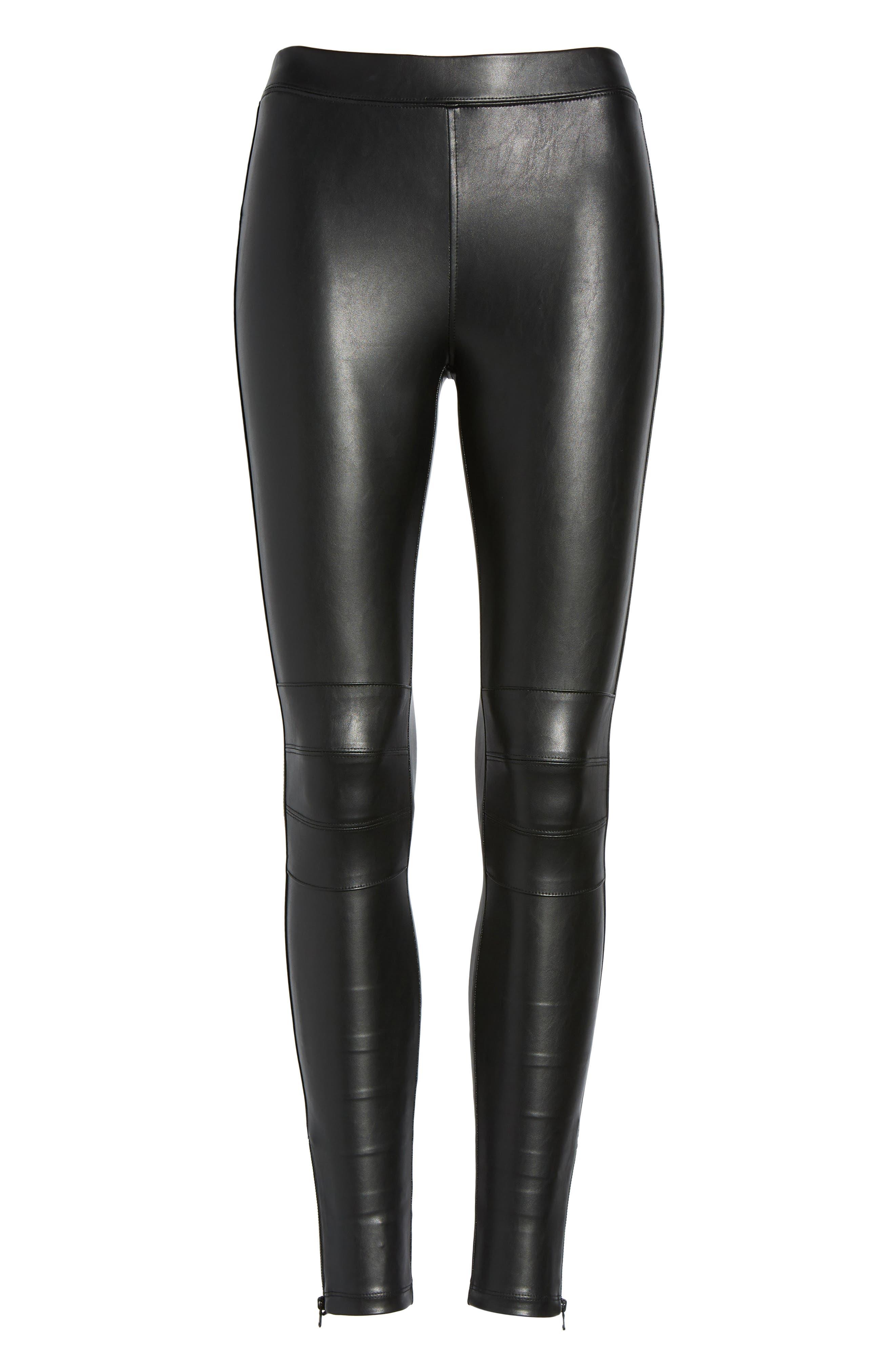 Zip Cuff Faux Leather Moto Leggings,                             Alternate thumbnail 6, color,                             Black