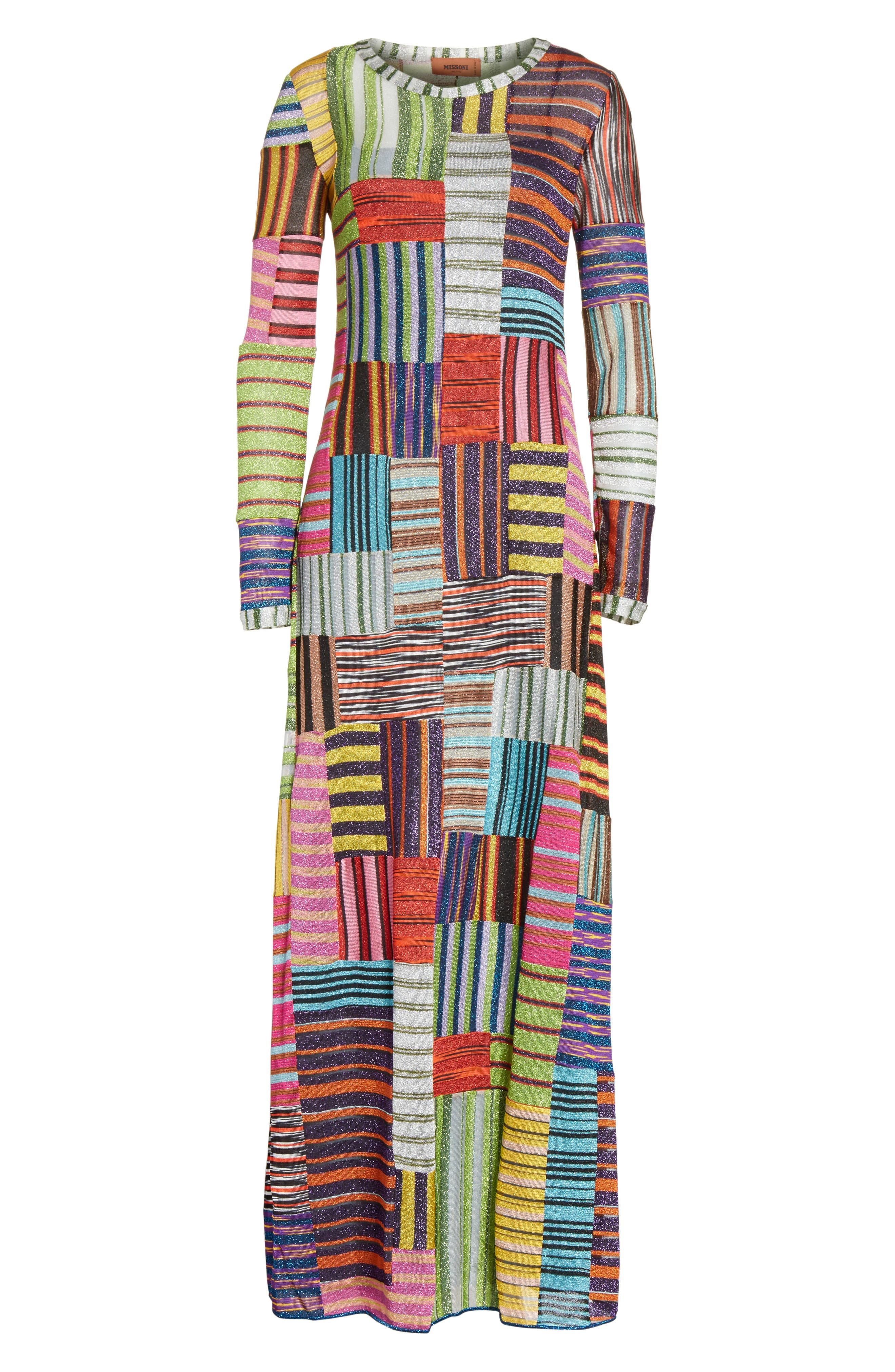 Metallic Patchwork Stripe Knit Maxi Dress,                             Alternate thumbnail 6, color,                             Multi