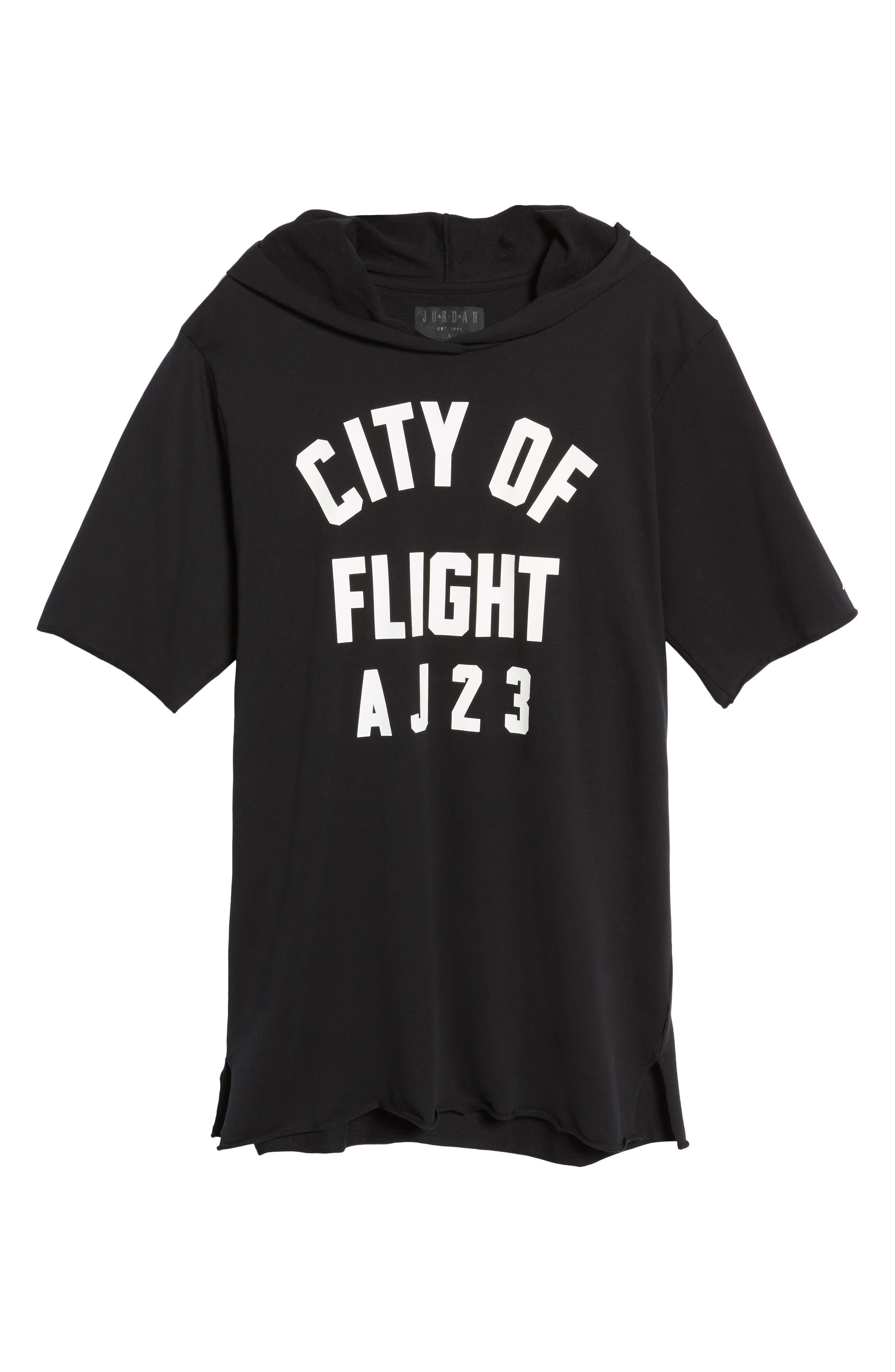 Sportswear City of Flight Hooded T-Shirt,                             Alternate thumbnail 6, color,                             Black/ White