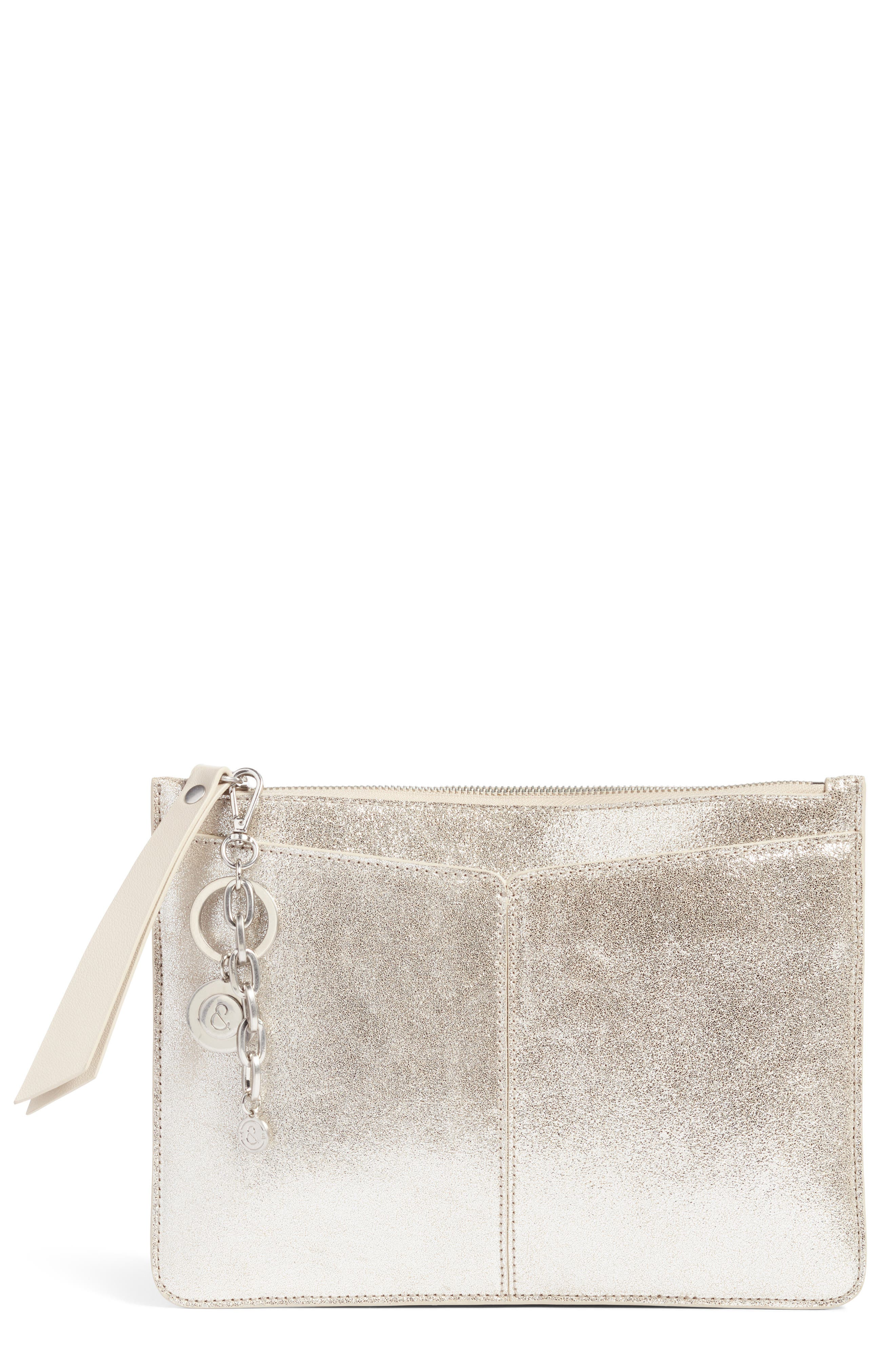 Treasure & Bond Beckett Metallic Leather Pouch