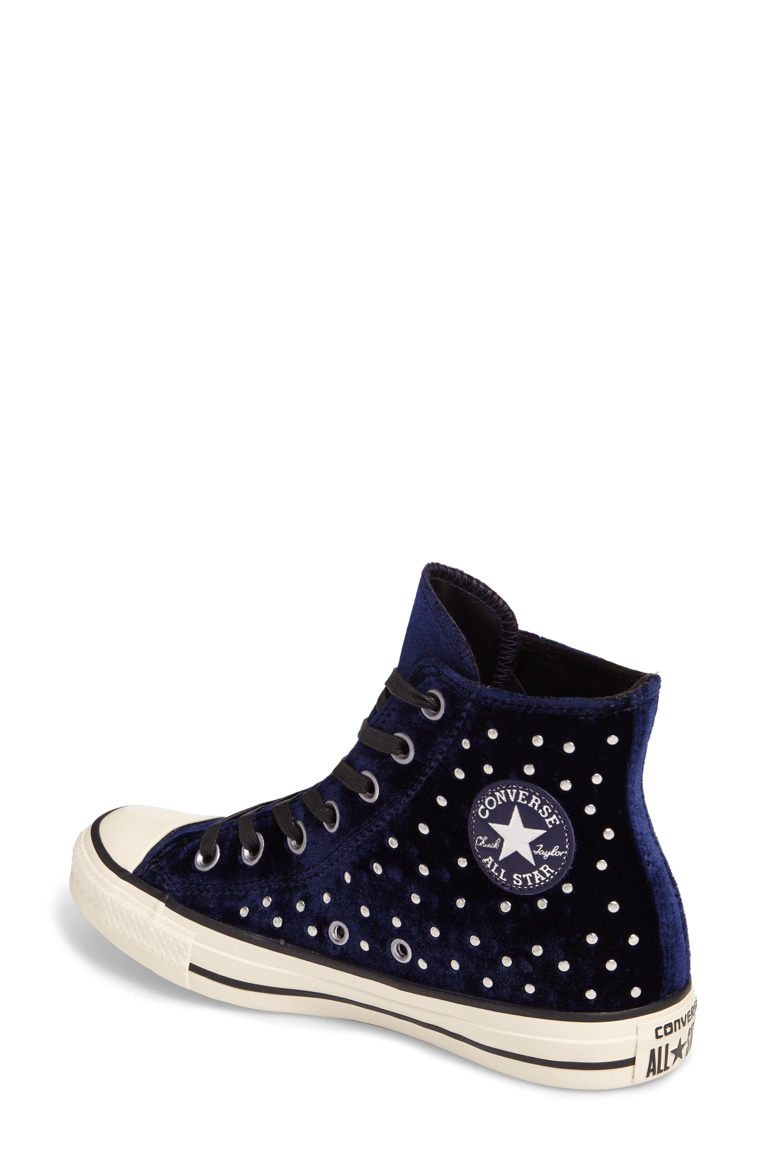Chuck Taylor<sup>®</sup> All Star<sup>®</sup> Studded High Top Sneakers,                             Alternate thumbnail 2, color,                             Eclipse Velvet