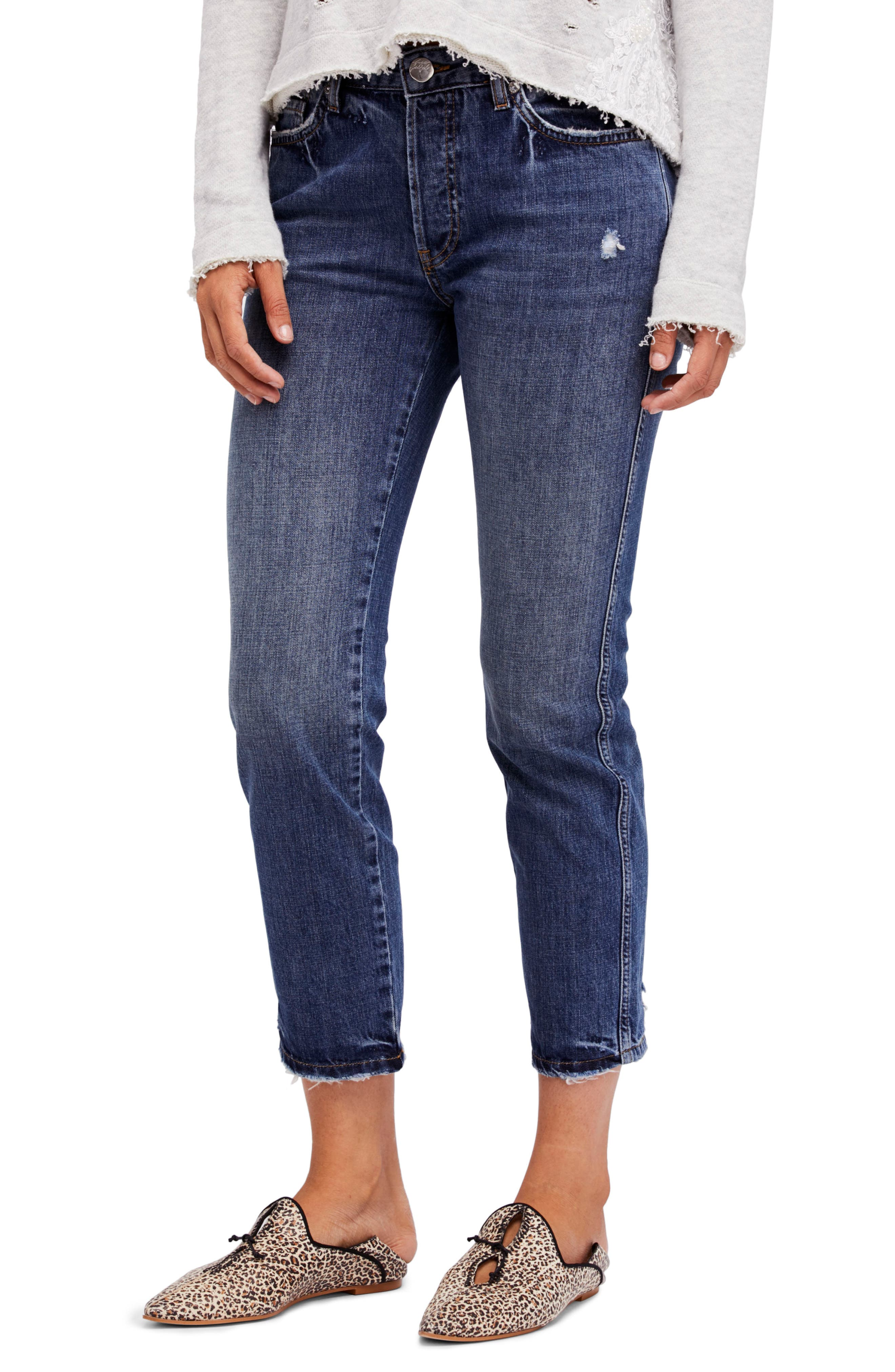 Slim Boyfriend Jeans,                             Main thumbnail 1, color,                             Blue