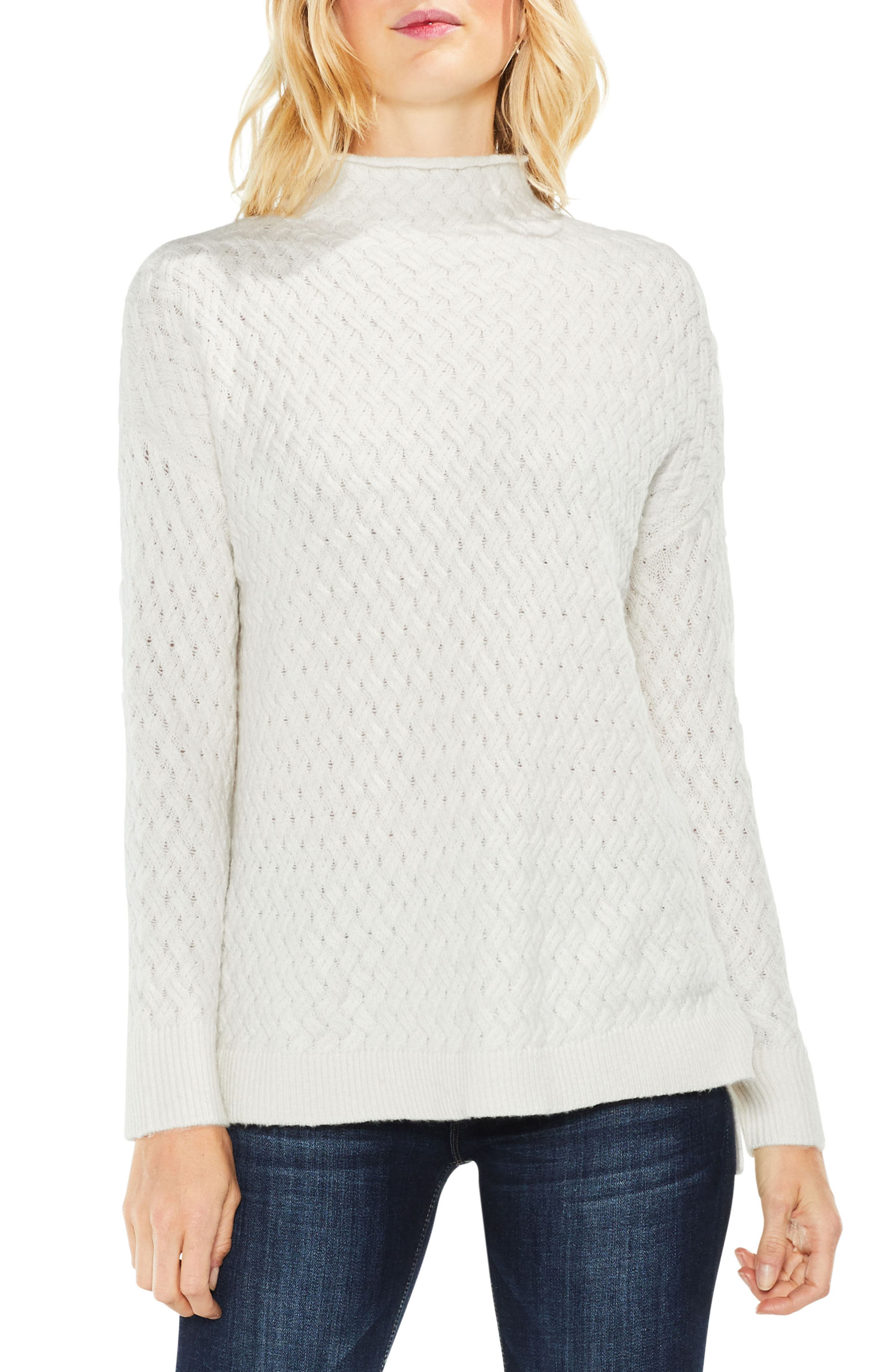 Cable Mock Neck Sweater,                         Main,                         color, Antique White