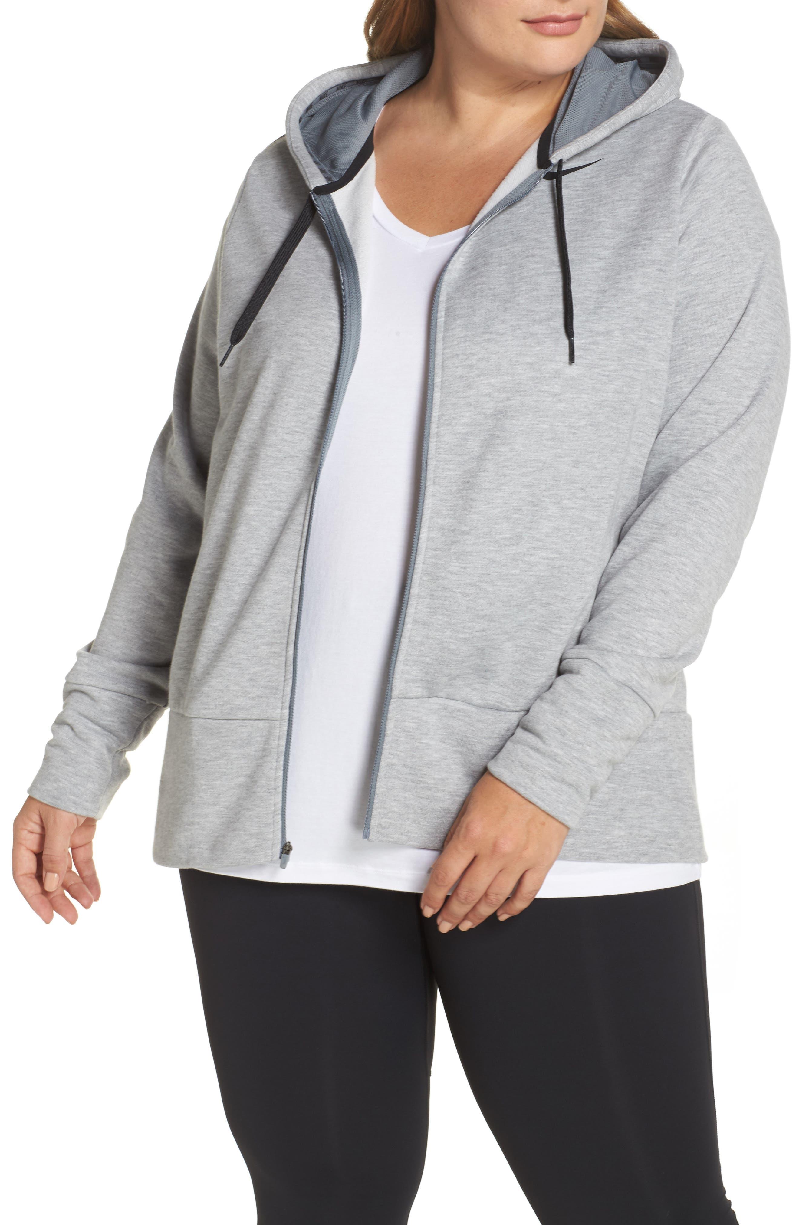 Dry-FIT Oversize Zip Hoodie,                         Main,                         color, Dk Grey Heather/ Cool Grey