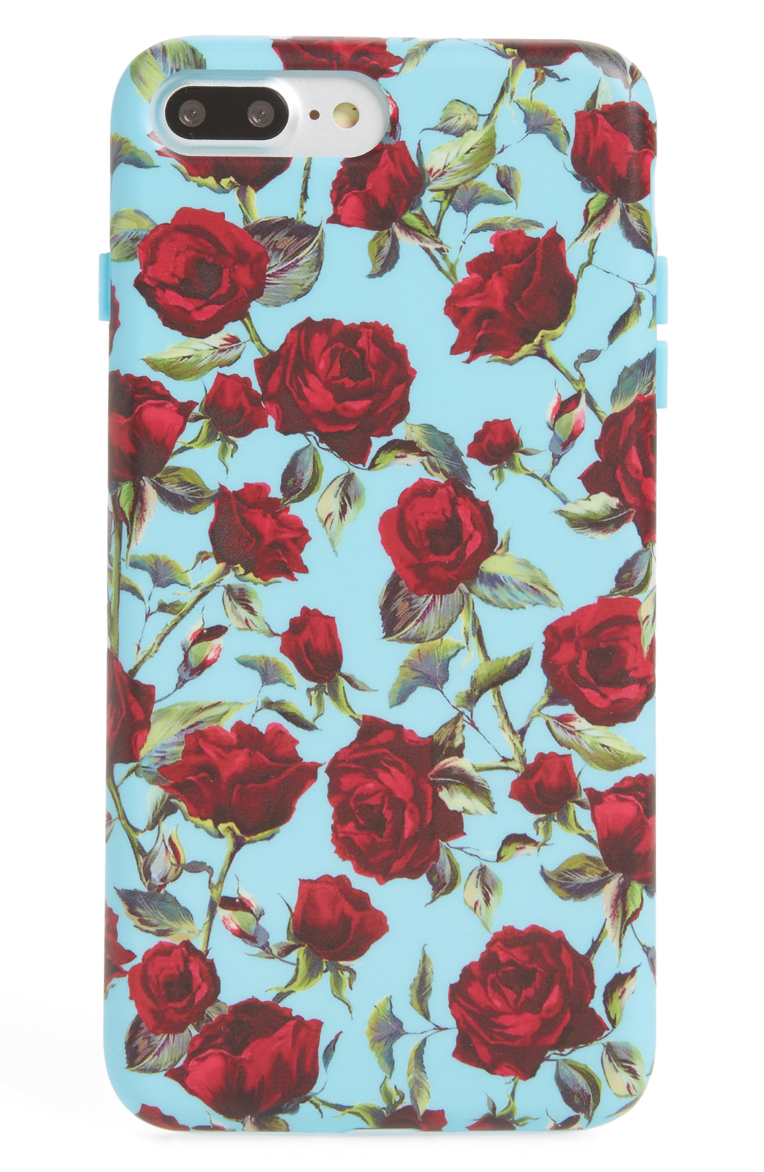 Roses iPhone 7/8 Plus Case,                             Main thumbnail 1, color,                             Blue