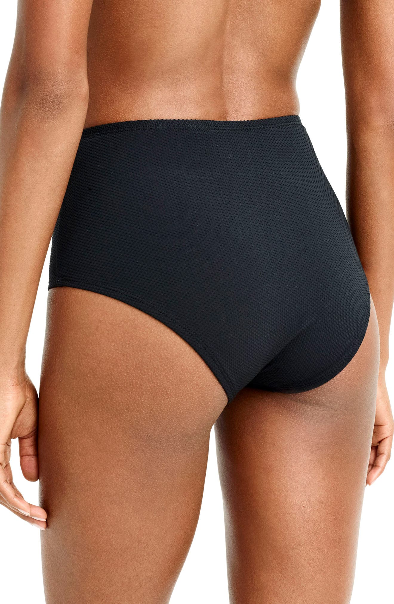 Piqué High Waist Bikini Bottoms,                             Alternate thumbnail 2, color,                             Black