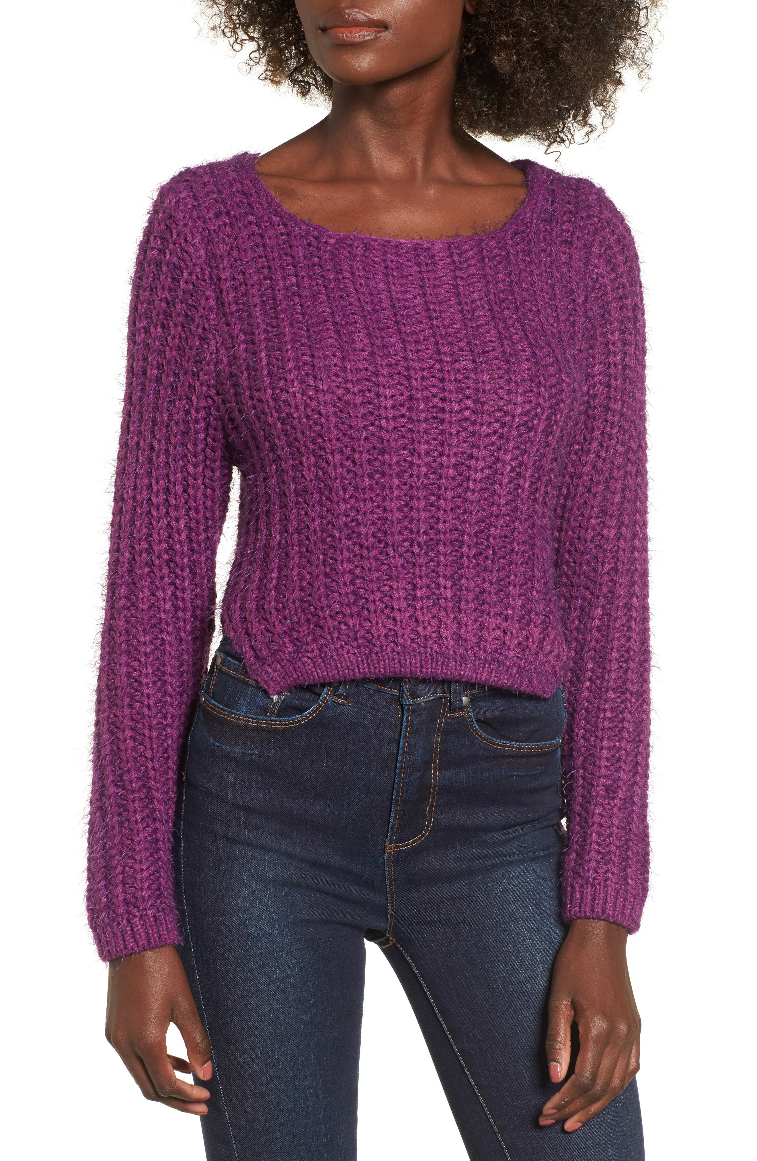 Bethany Crop Sweater,                             Main thumbnail 1, color,                             Purple