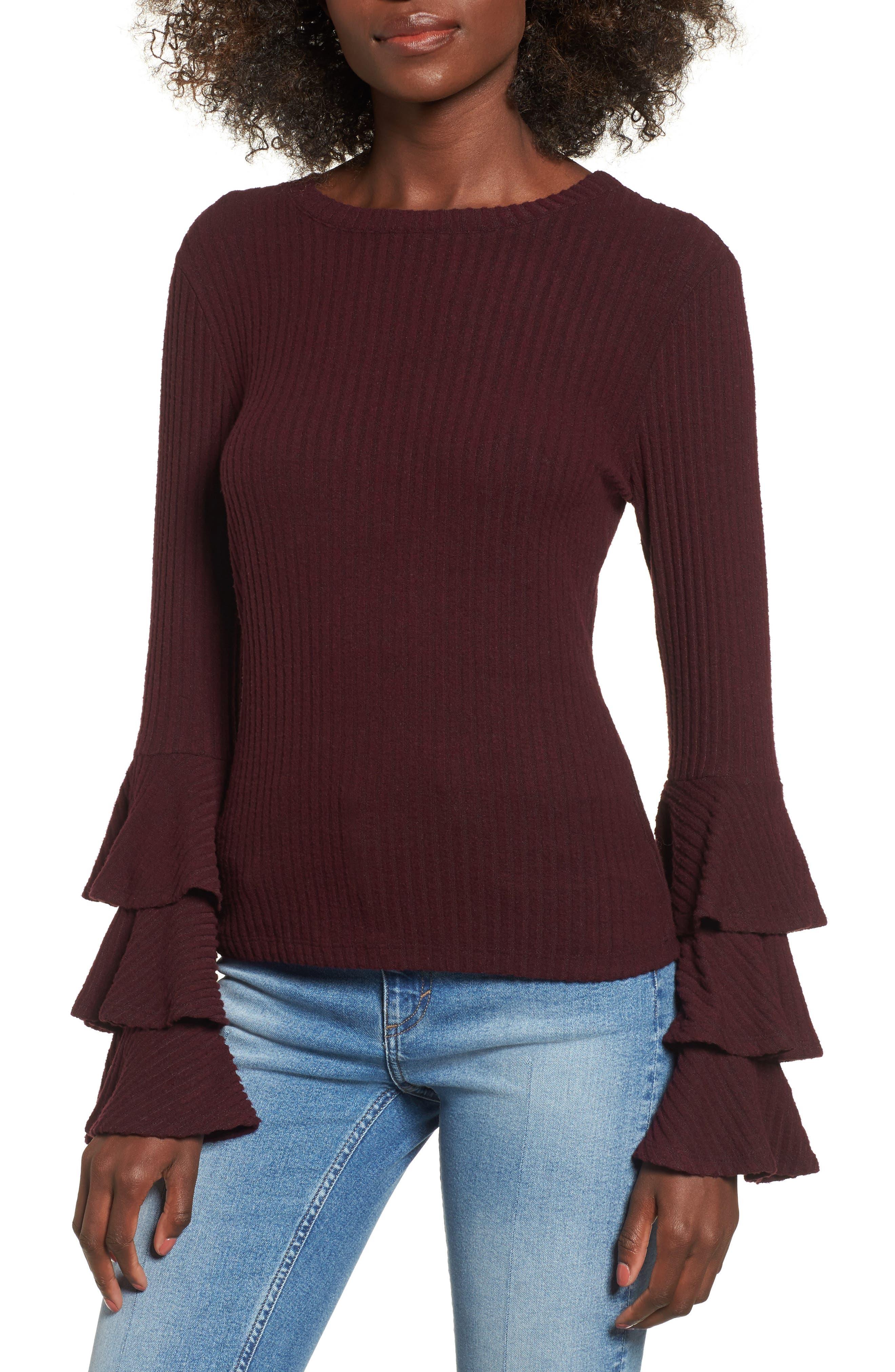Marie Ruffle Sleeve Top,                         Main,                         color, Burgundy