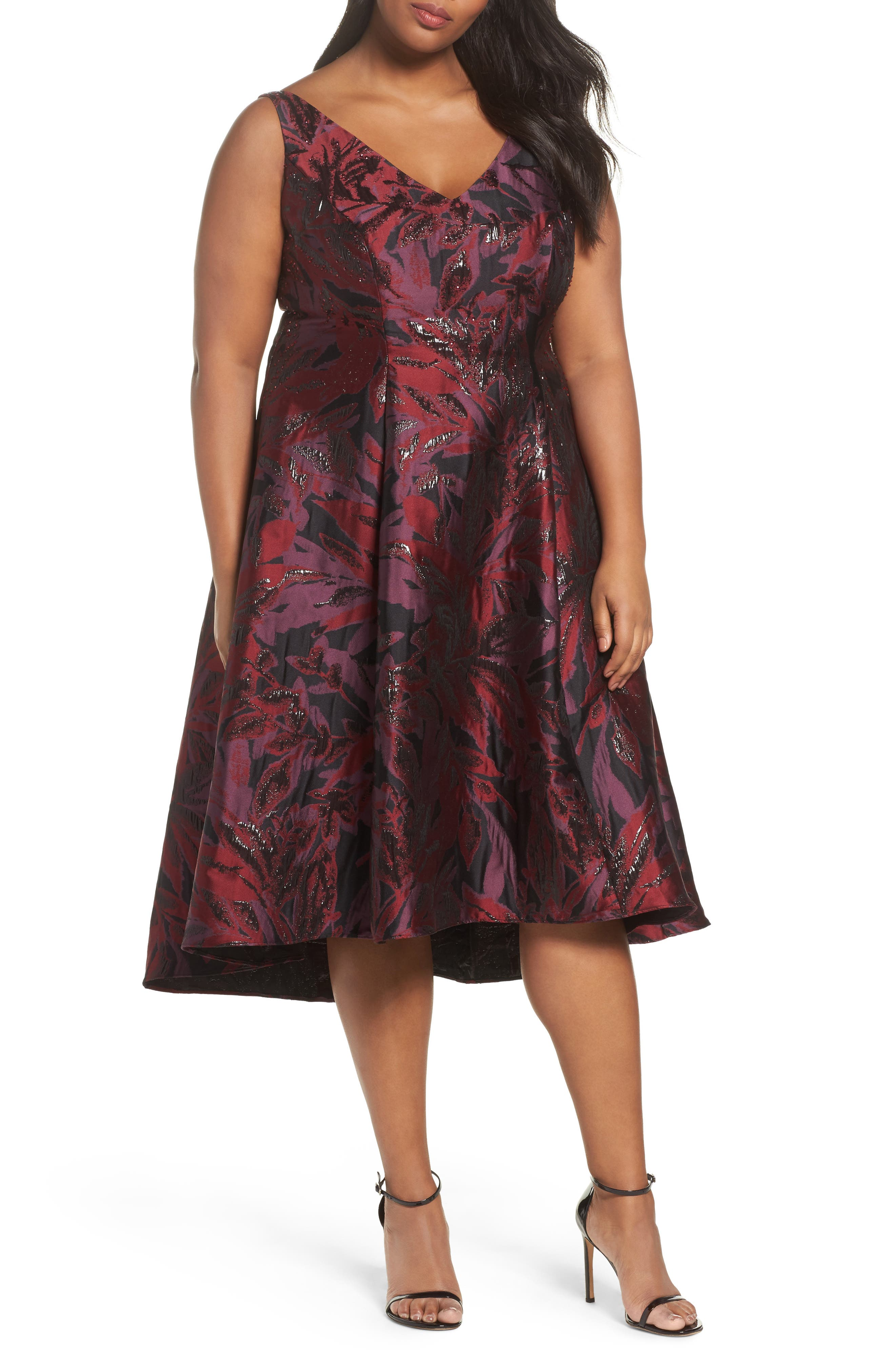 Metallic Floral Jacquard Fit & Flare Dress,                         Main,                         color, Wine Berry Multi