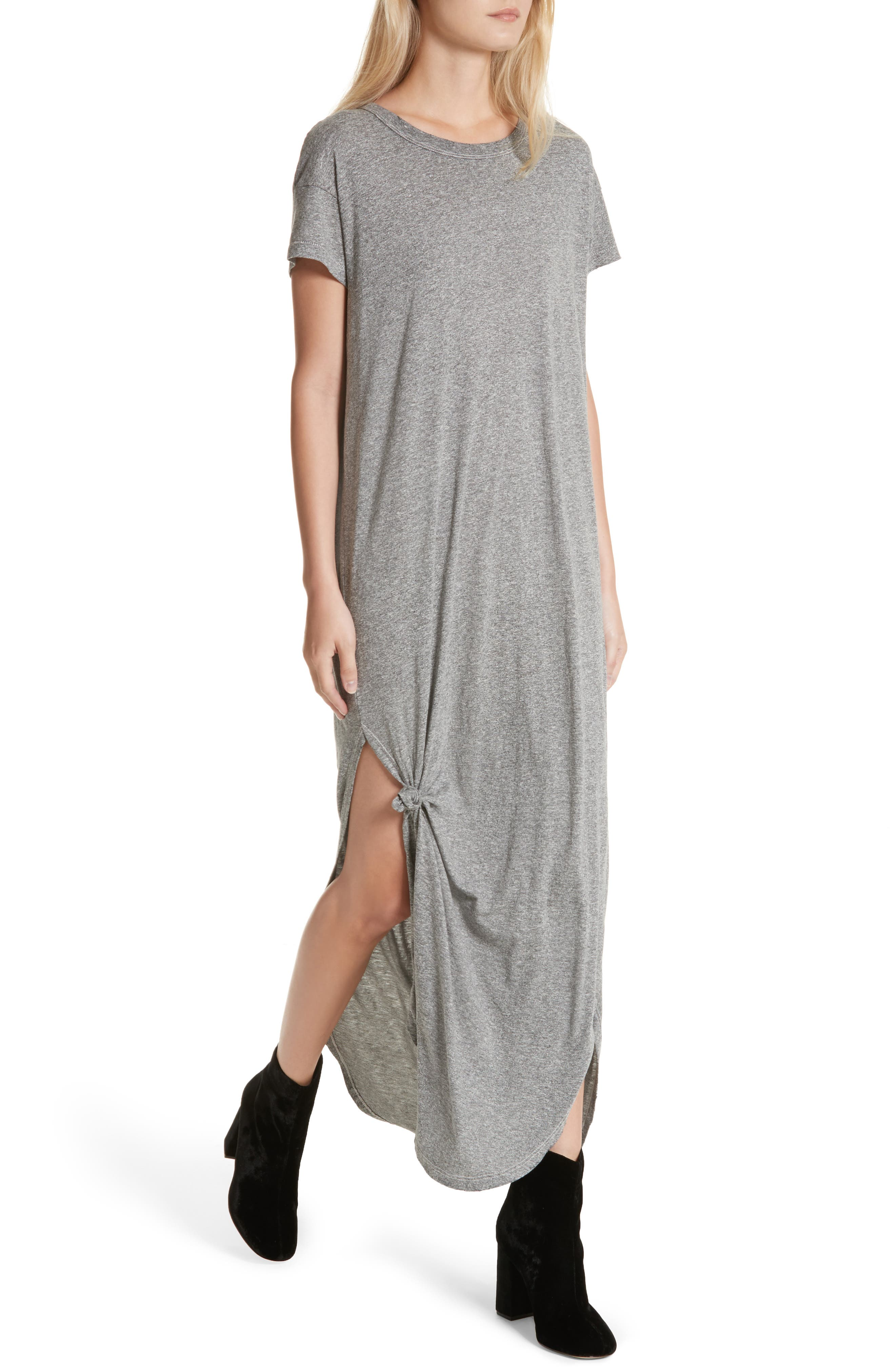 The Knotted Tee Dress,                             Alternate thumbnail 5, color,                             Heather Grey