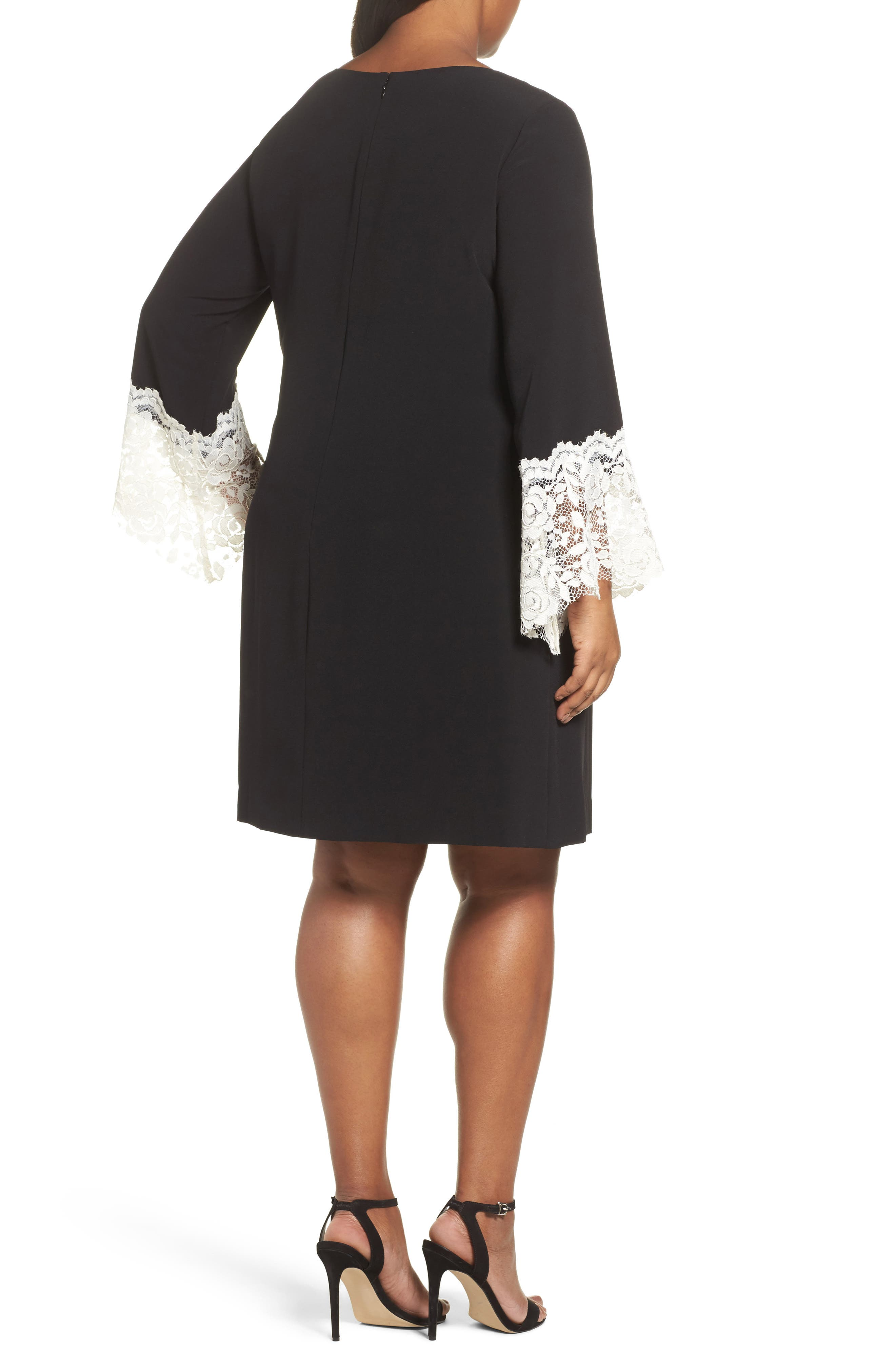 Lace Cuff Shift Dress,                             Alternate thumbnail 2, color,                             Black/ Ivory