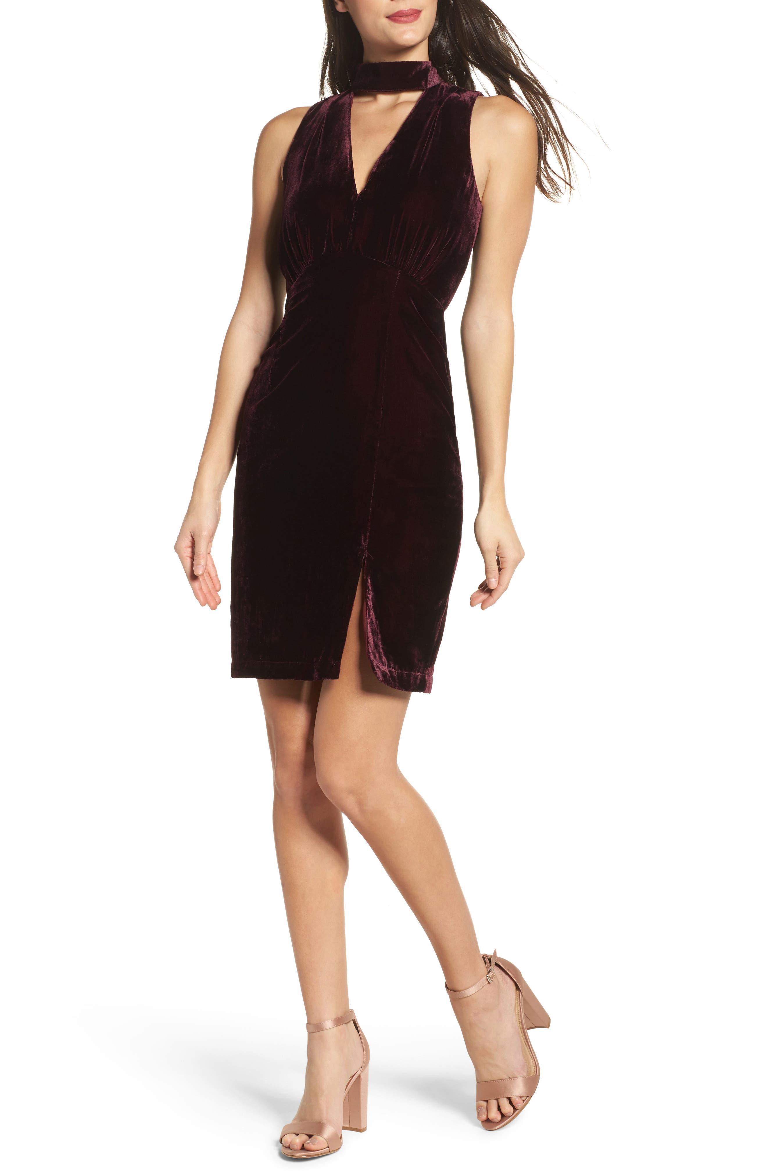 Elle Velvet Choker Sheath Dress,                         Main,                         color, Wine