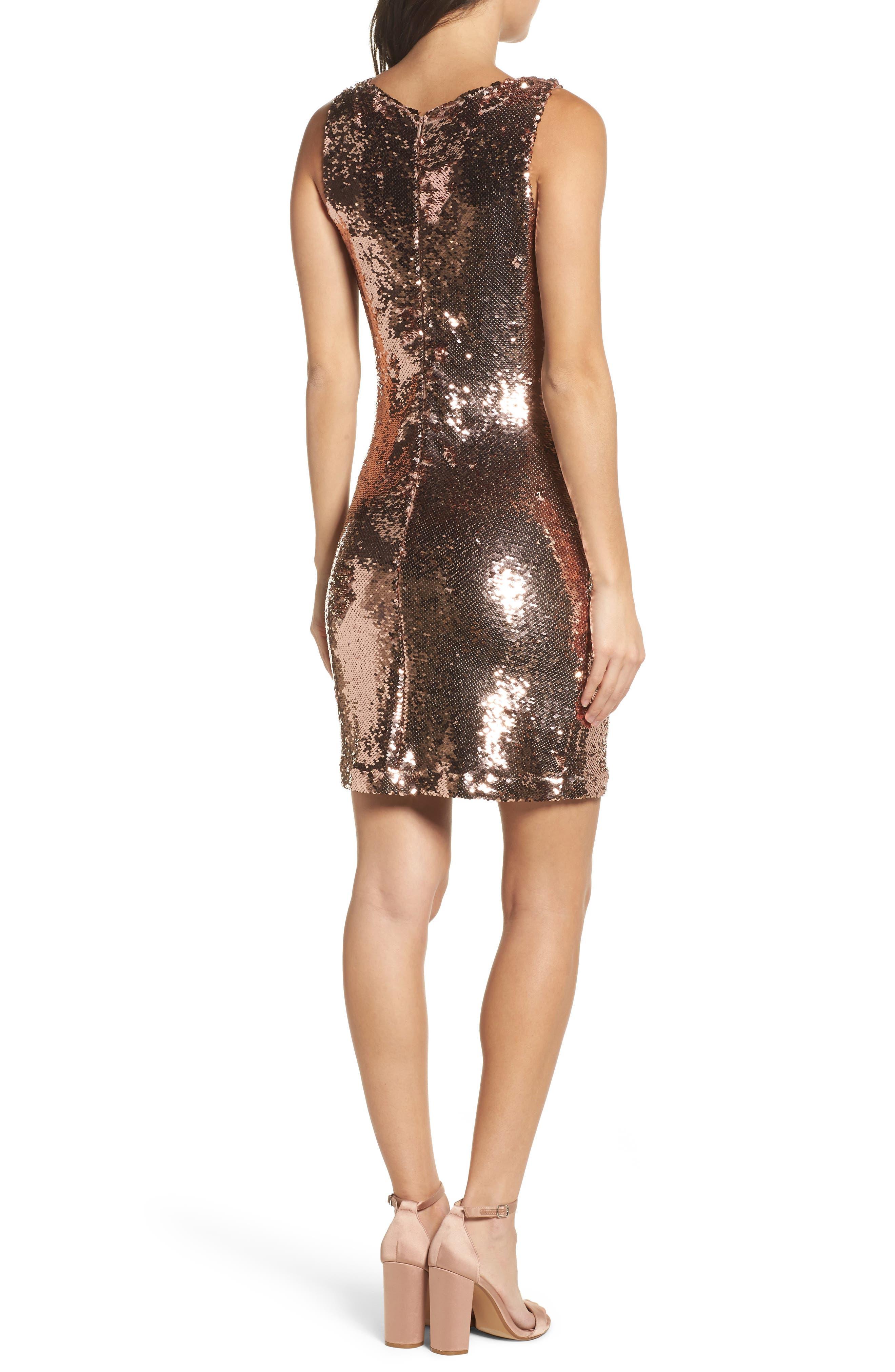 Garland Sequin Sheath Dress,                             Alternate thumbnail 2, color,                             Rose Gold