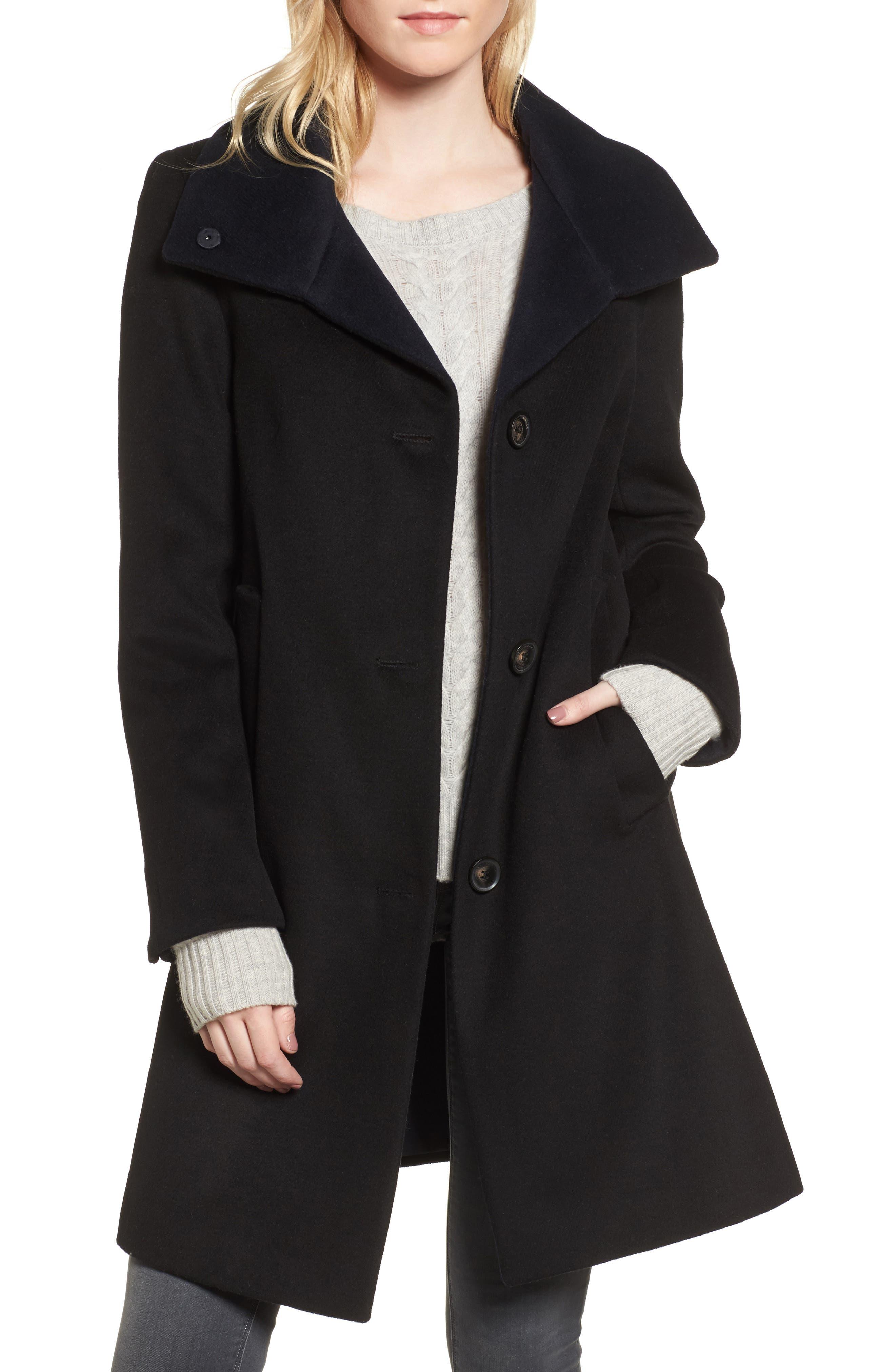 DKNY Felt Twill Wool Blend Coat