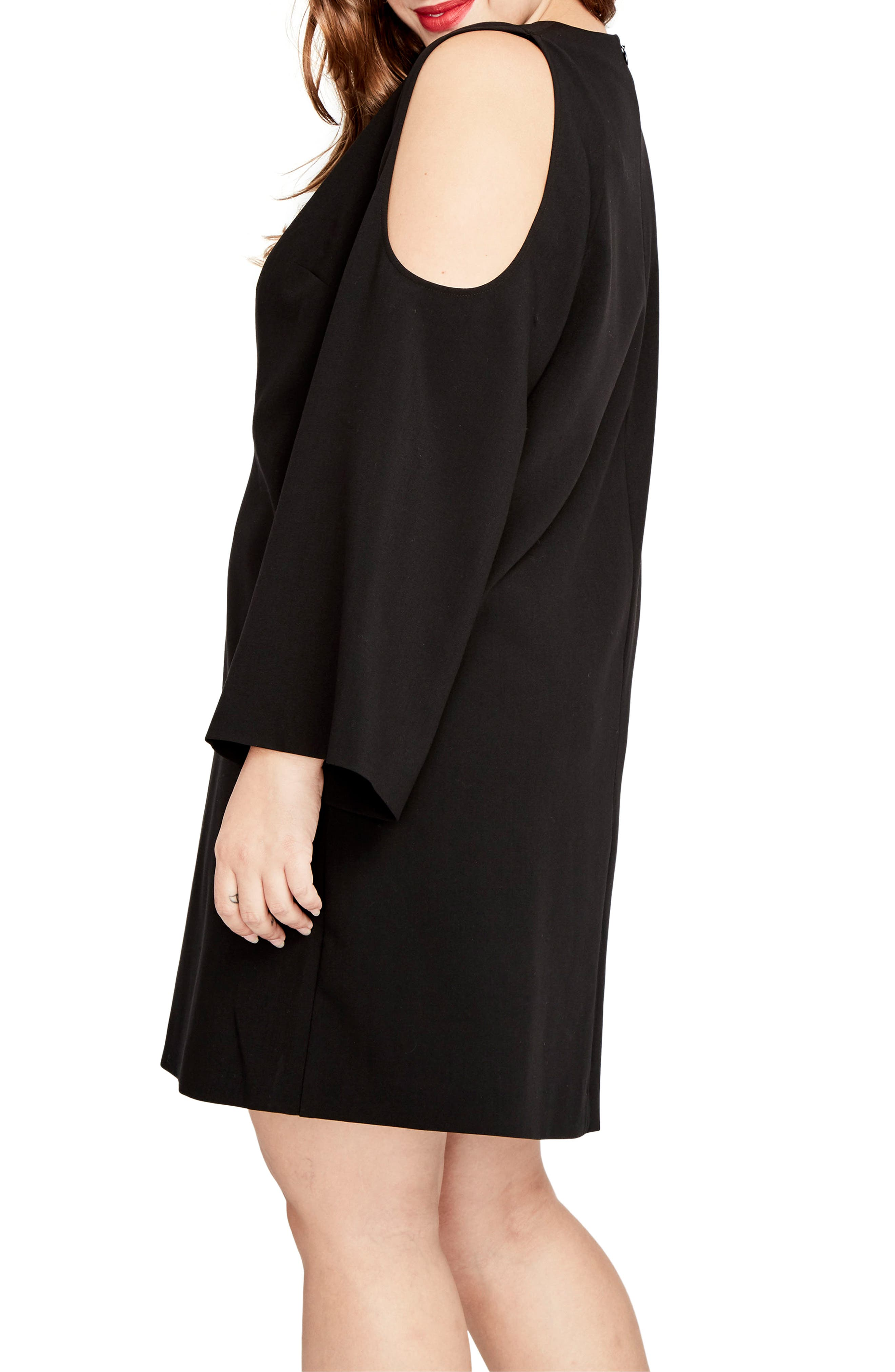 Cold Shoulder Shift Dress,                             Alternate thumbnail 3, color,                             Black
