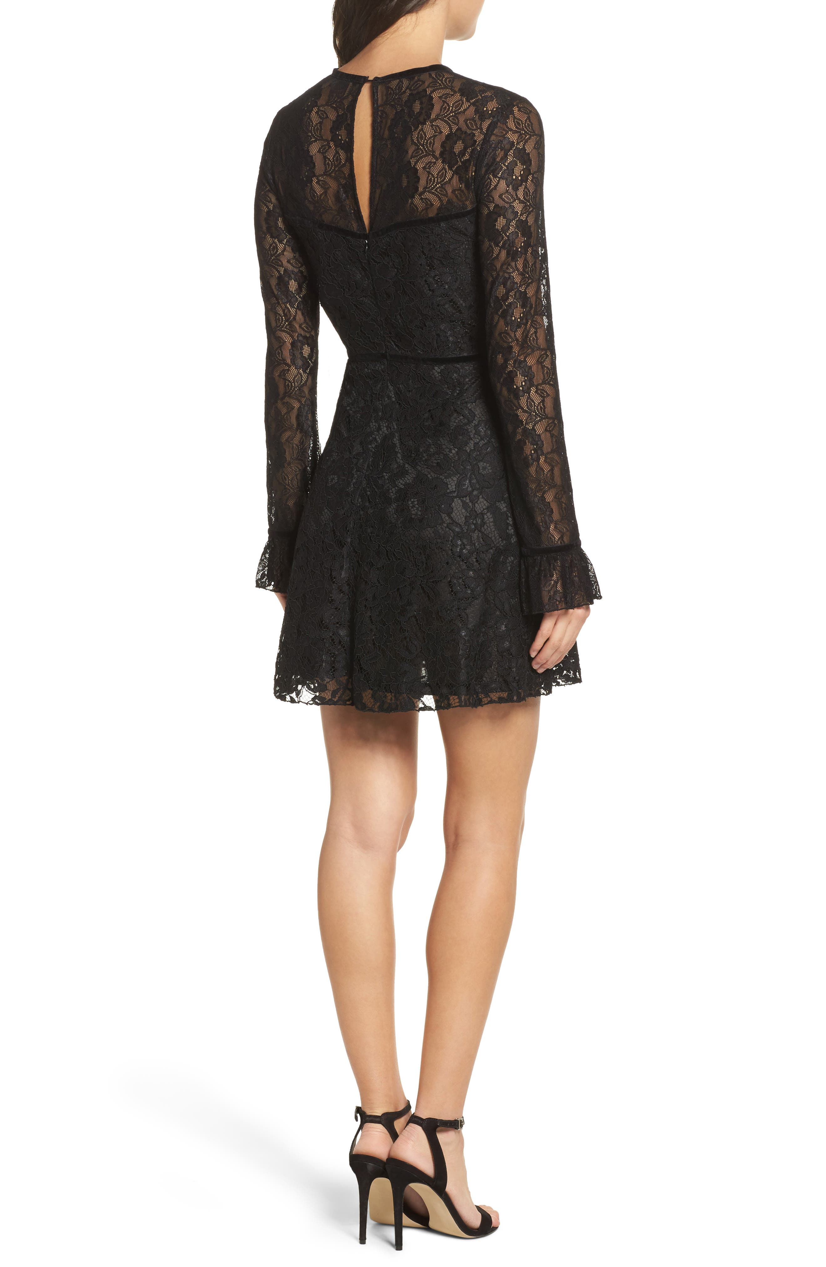 Chantilly Lace Skater Dress,                             Alternate thumbnail 2, color,                             Black