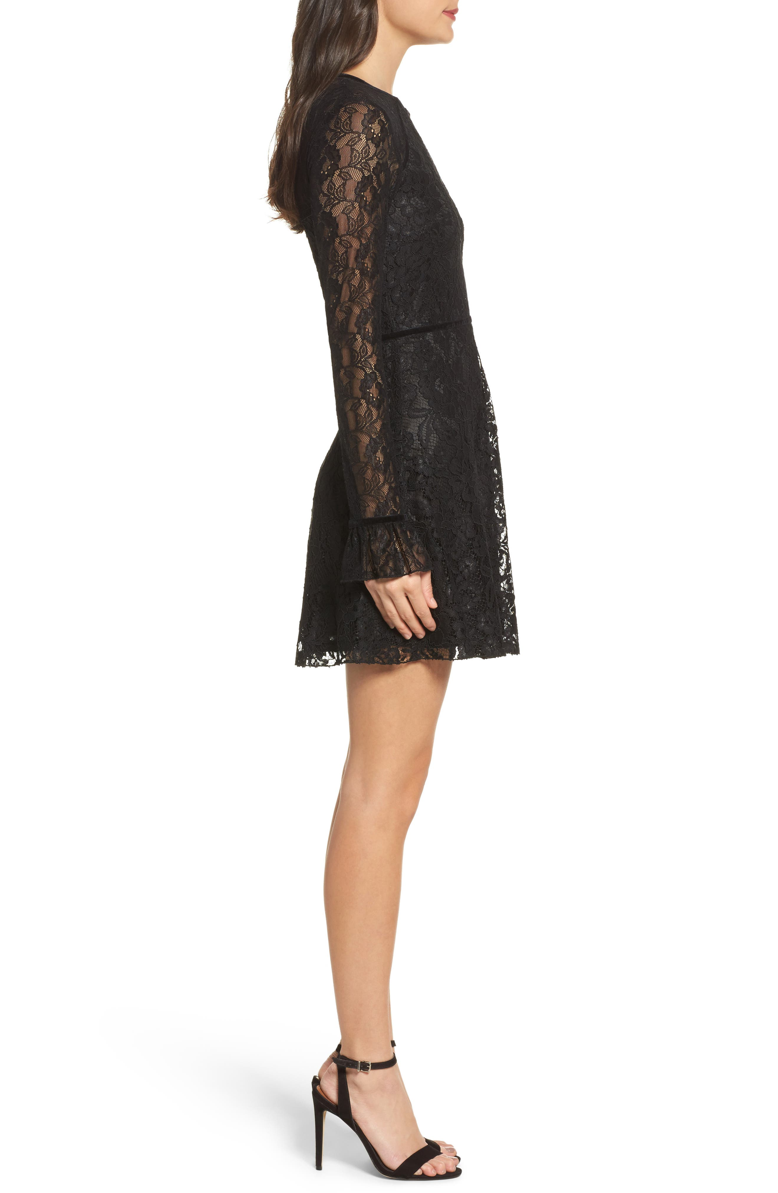Chantilly Lace Skater Dress,                             Alternate thumbnail 3, color,                             Black
