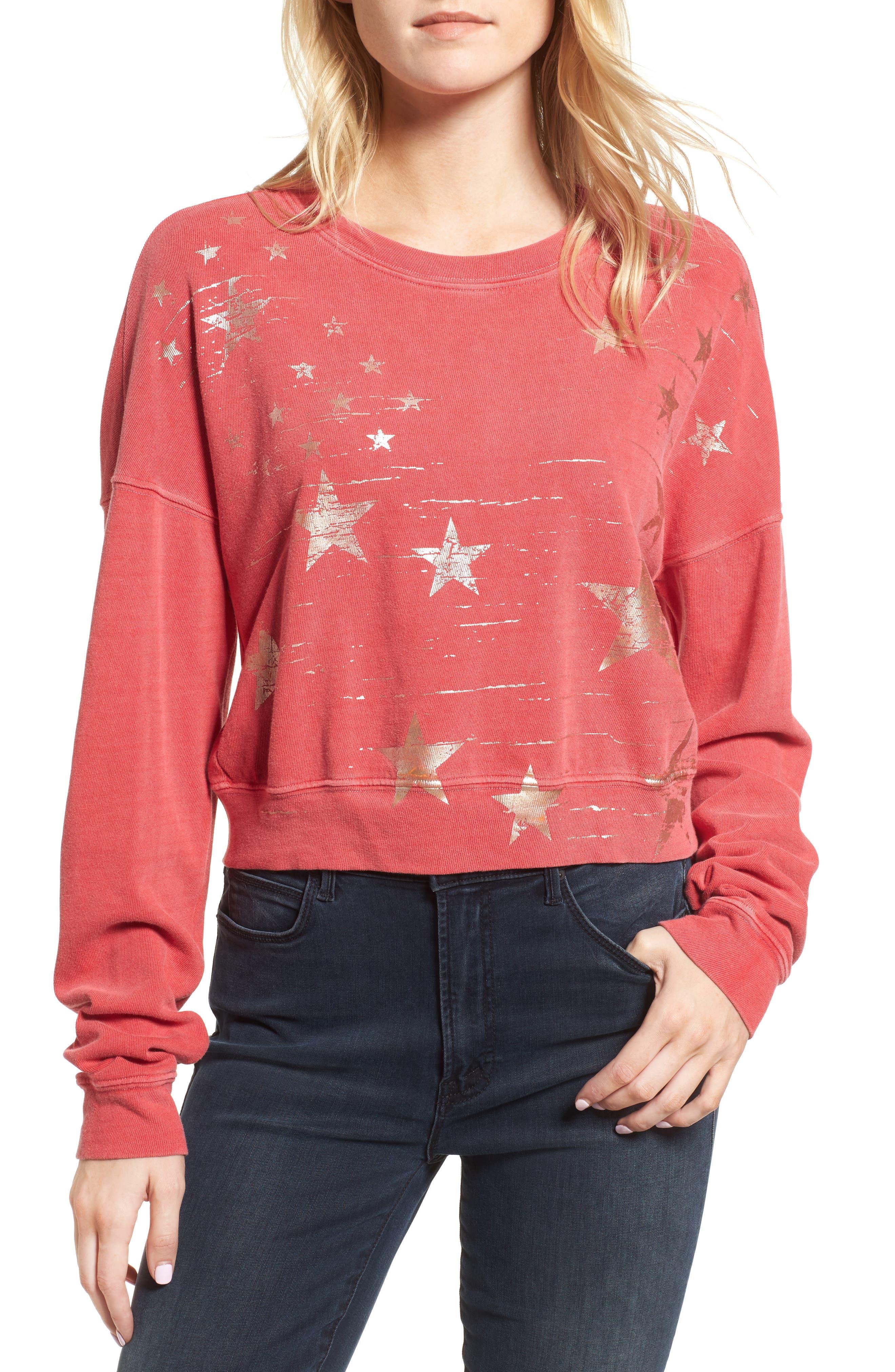 Foil Star Sweatshirt,                             Main thumbnail 1, color,                             Scarlet