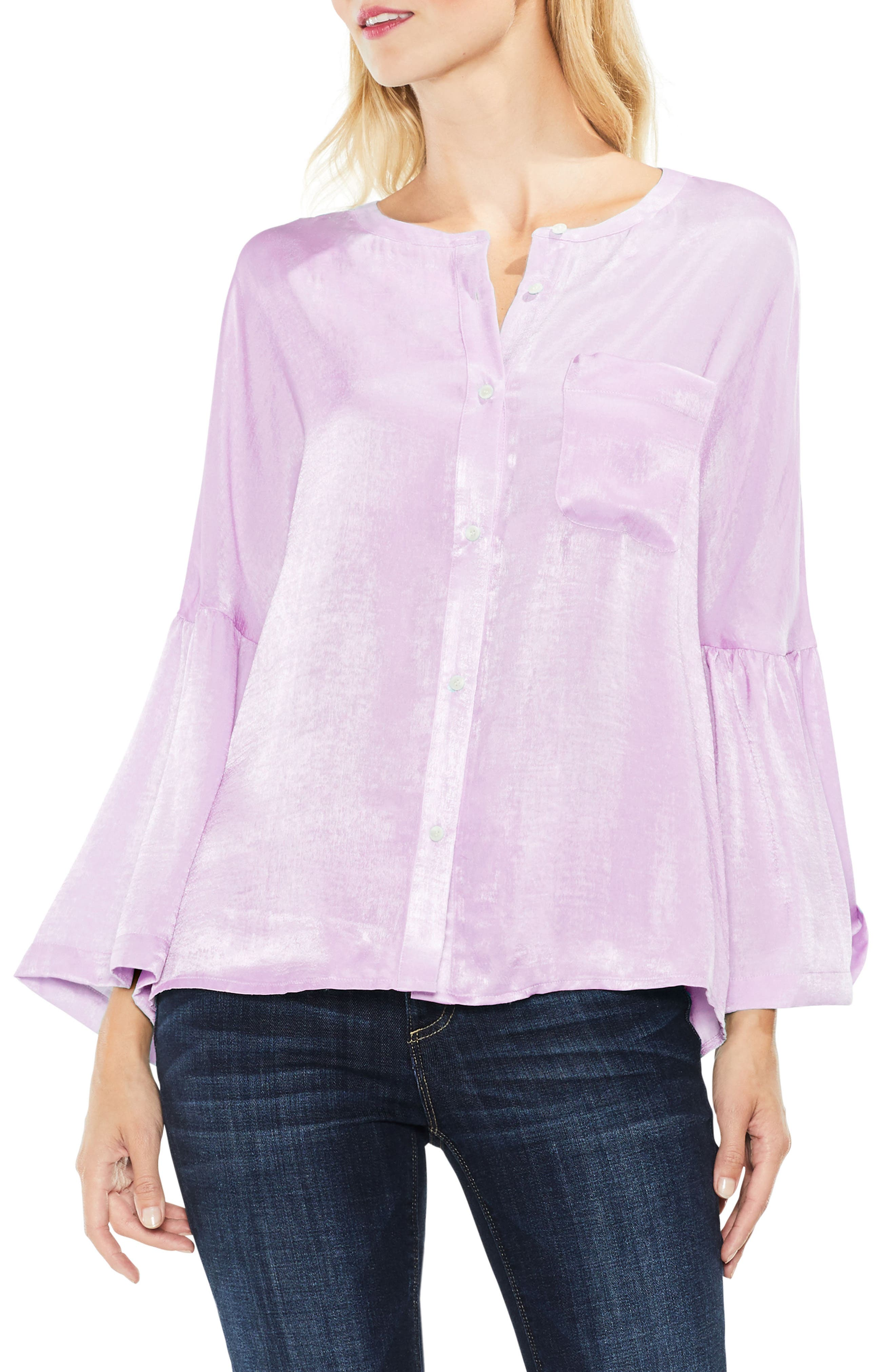Two by Vince Camuto Bell Sleeve Satin Shirt