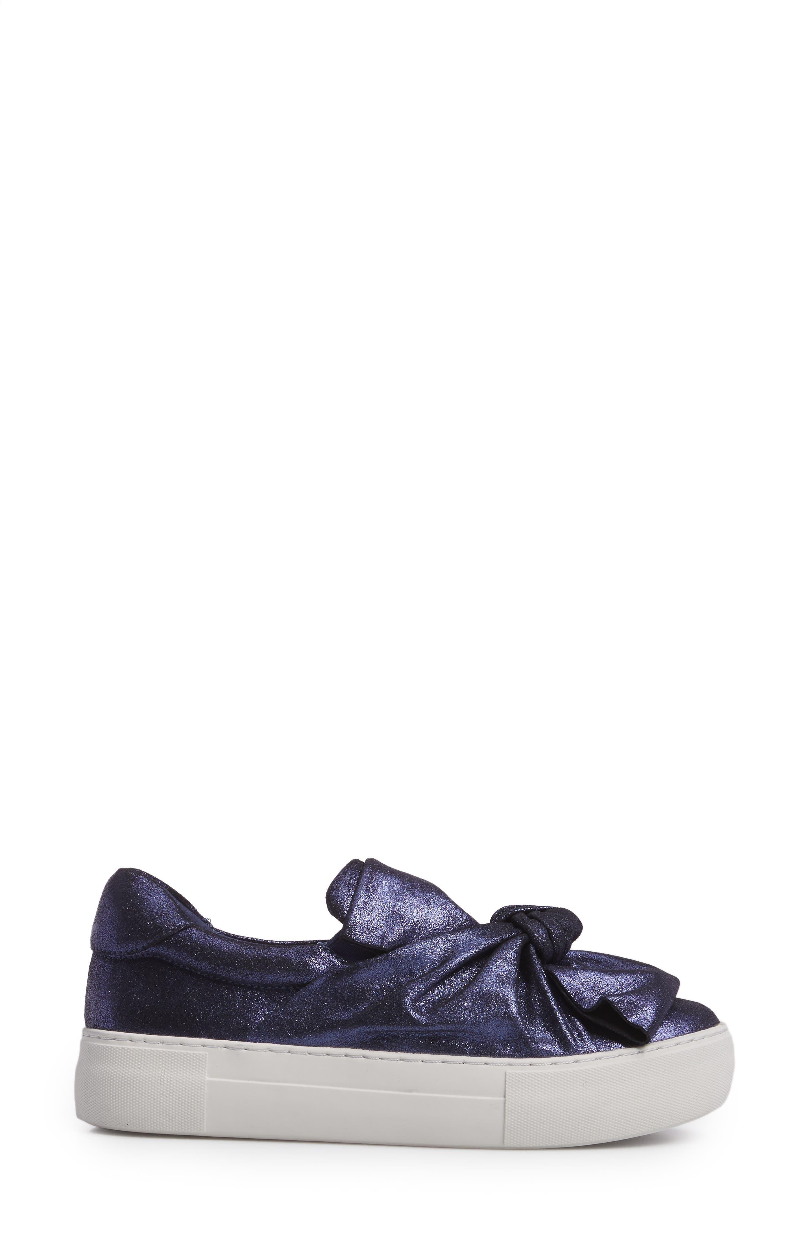 Audra Slip-On Sneaker,                             Alternate thumbnail 3, color,                             Navy Leather