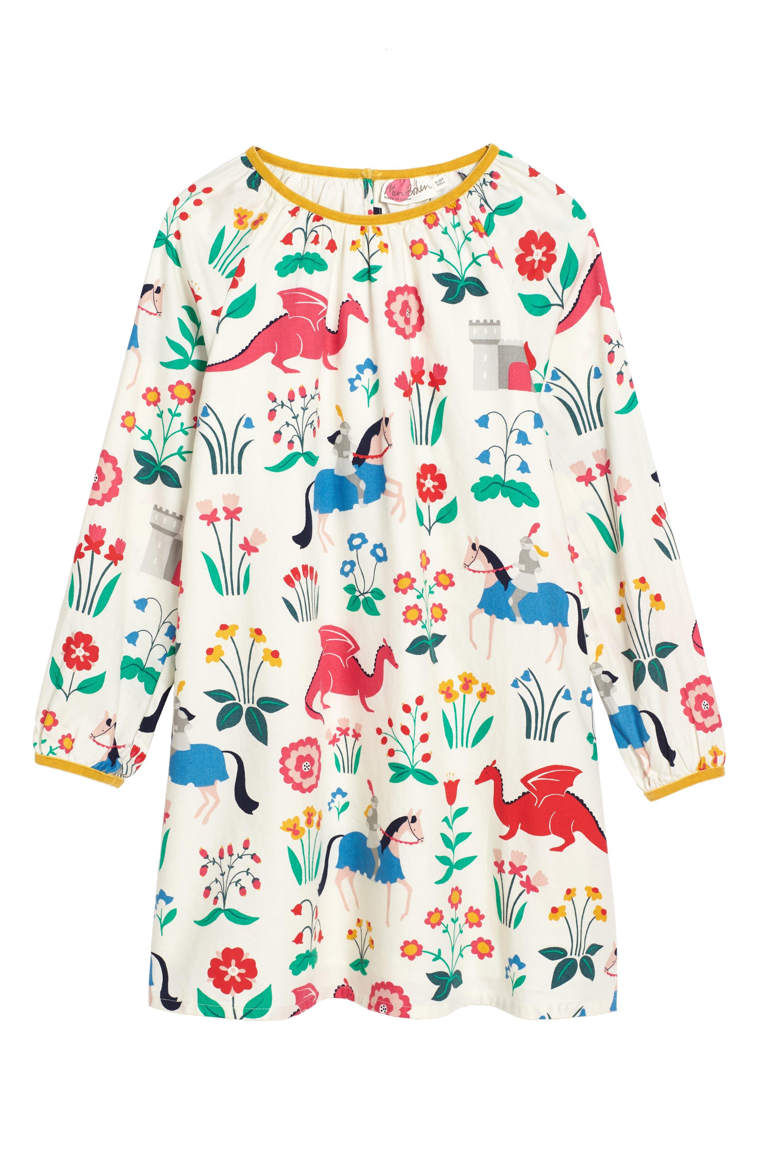 Alternate Image 1 Selected - Mini Boden Print Woven Dress (Toddler Girls, Little Girls & Big Girls)