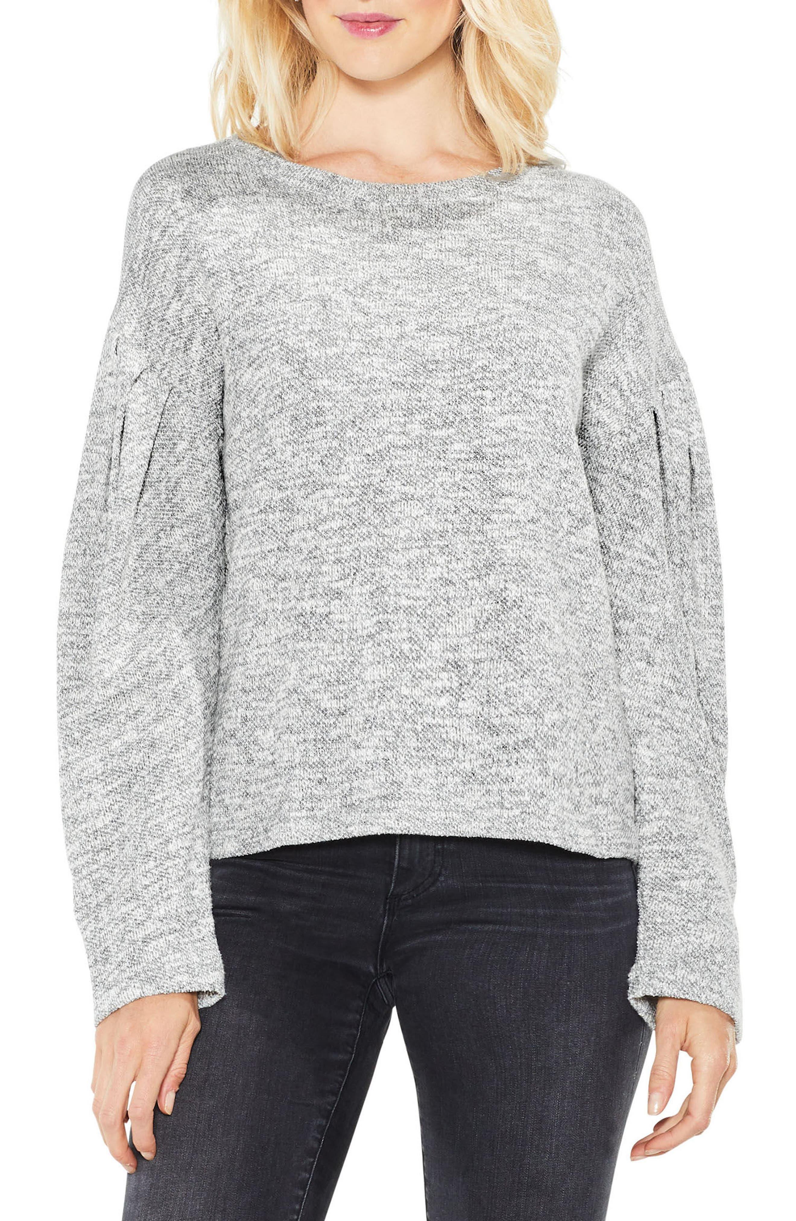 Metallic Knit Sweater,                             Main thumbnail 1, color,                             Grey Heather