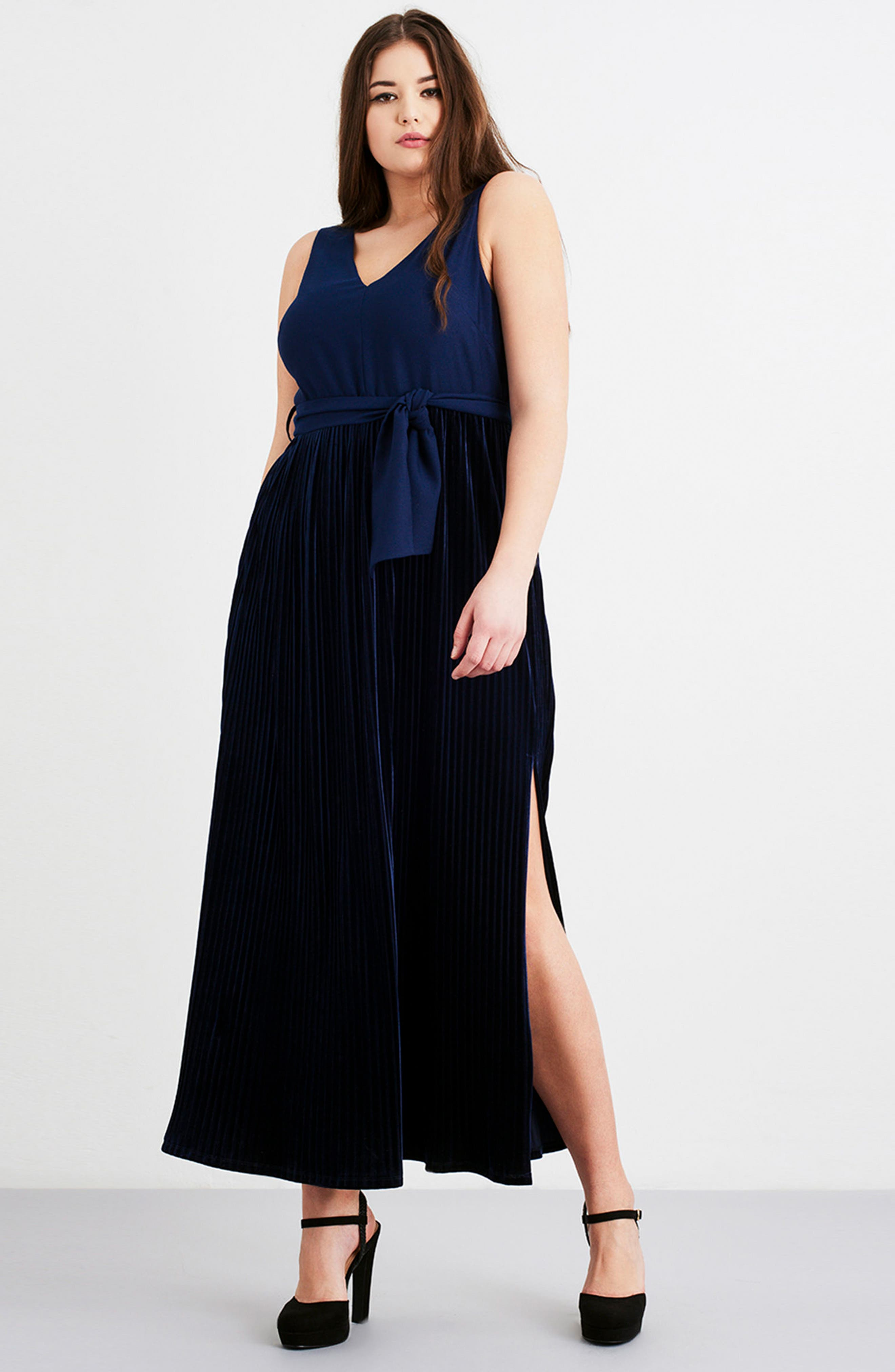 Alternate Image 2  - LOST INK Crepe & Pleat Velvet Maxi Dress (Plus Size)