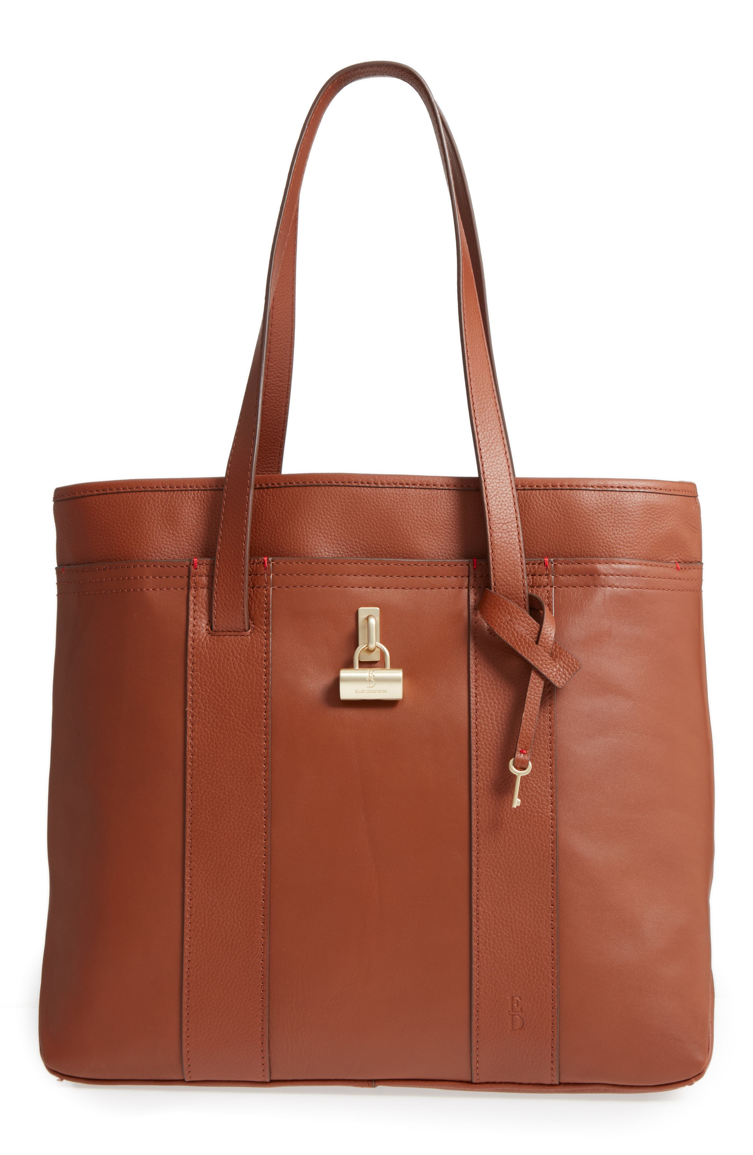 Brody Leather Tote,                         Main,                         color, Whiskey