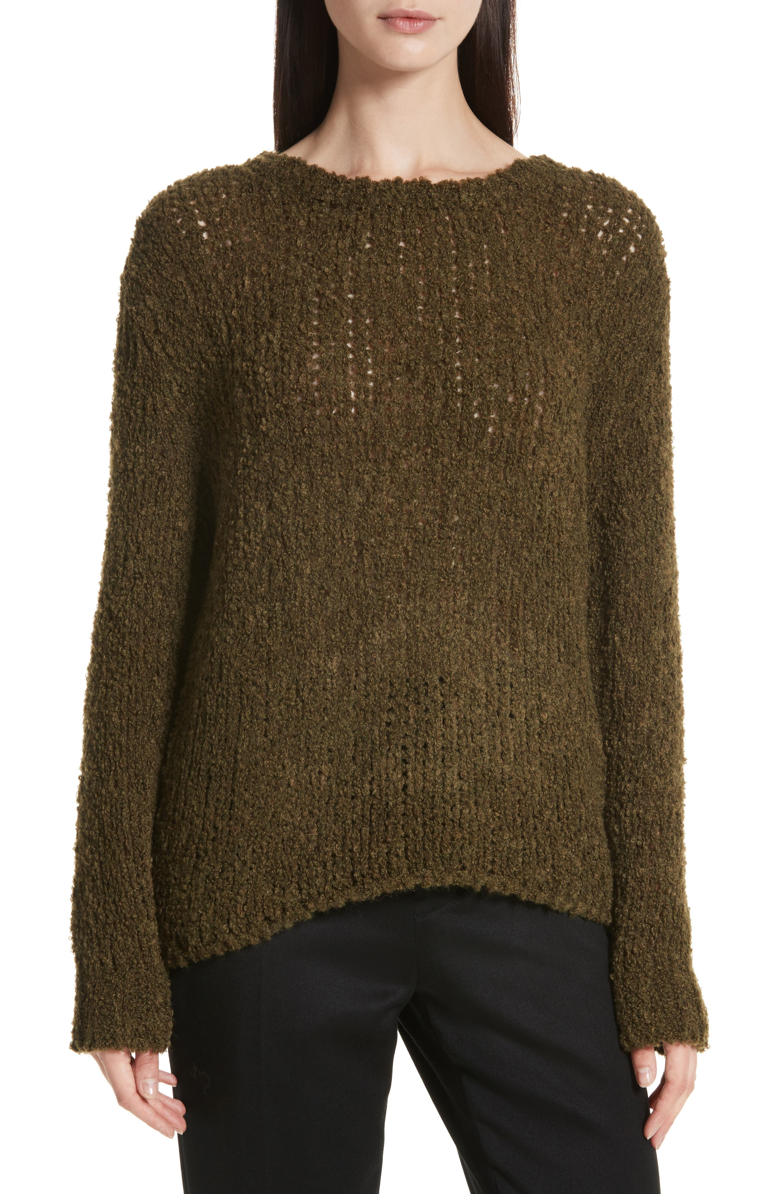 Cresent Cutout Sweater,                             Main thumbnail 1, color,                             Olive