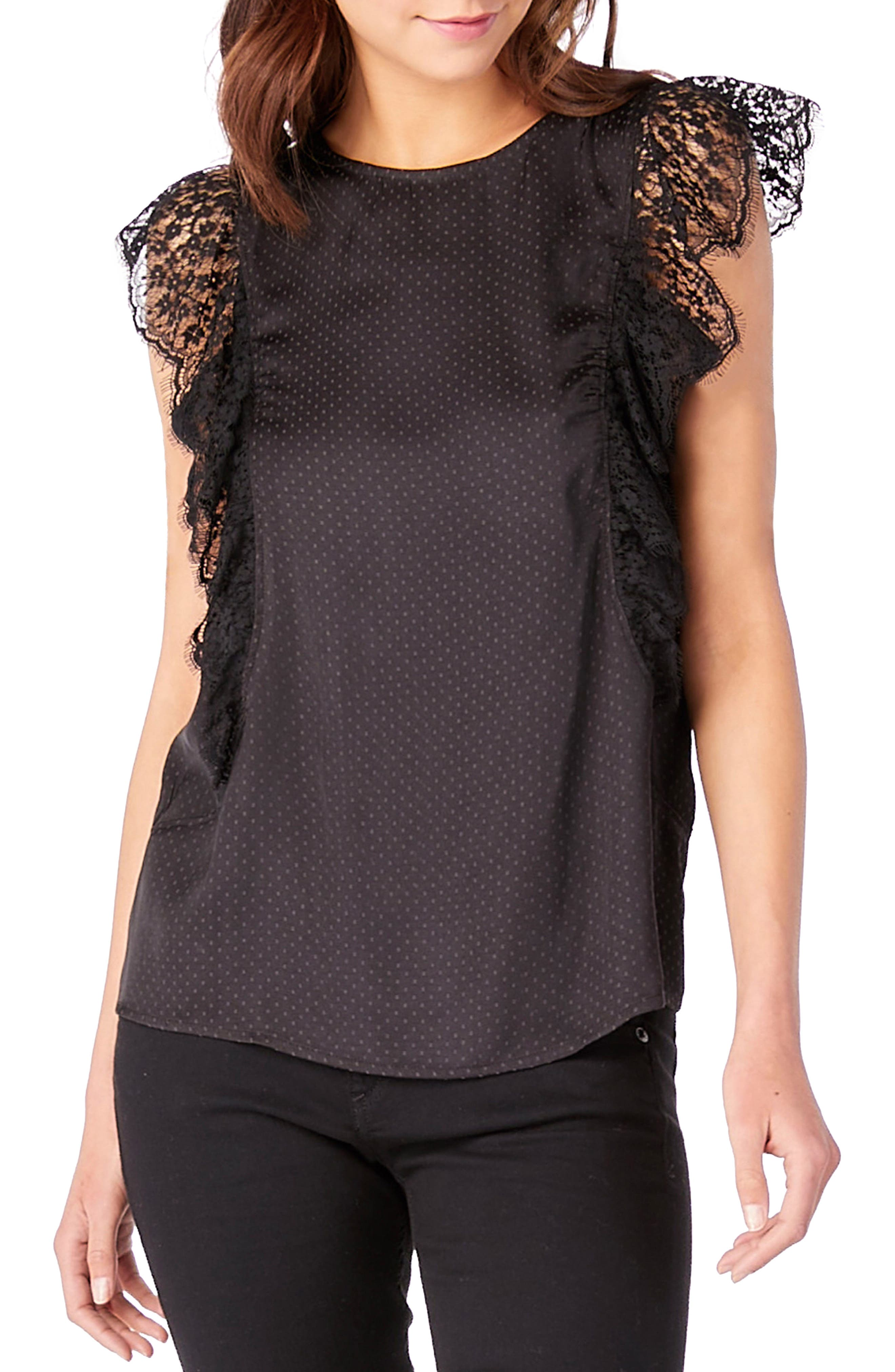 Lace Ruffle Top,                         Main,                         color, Black