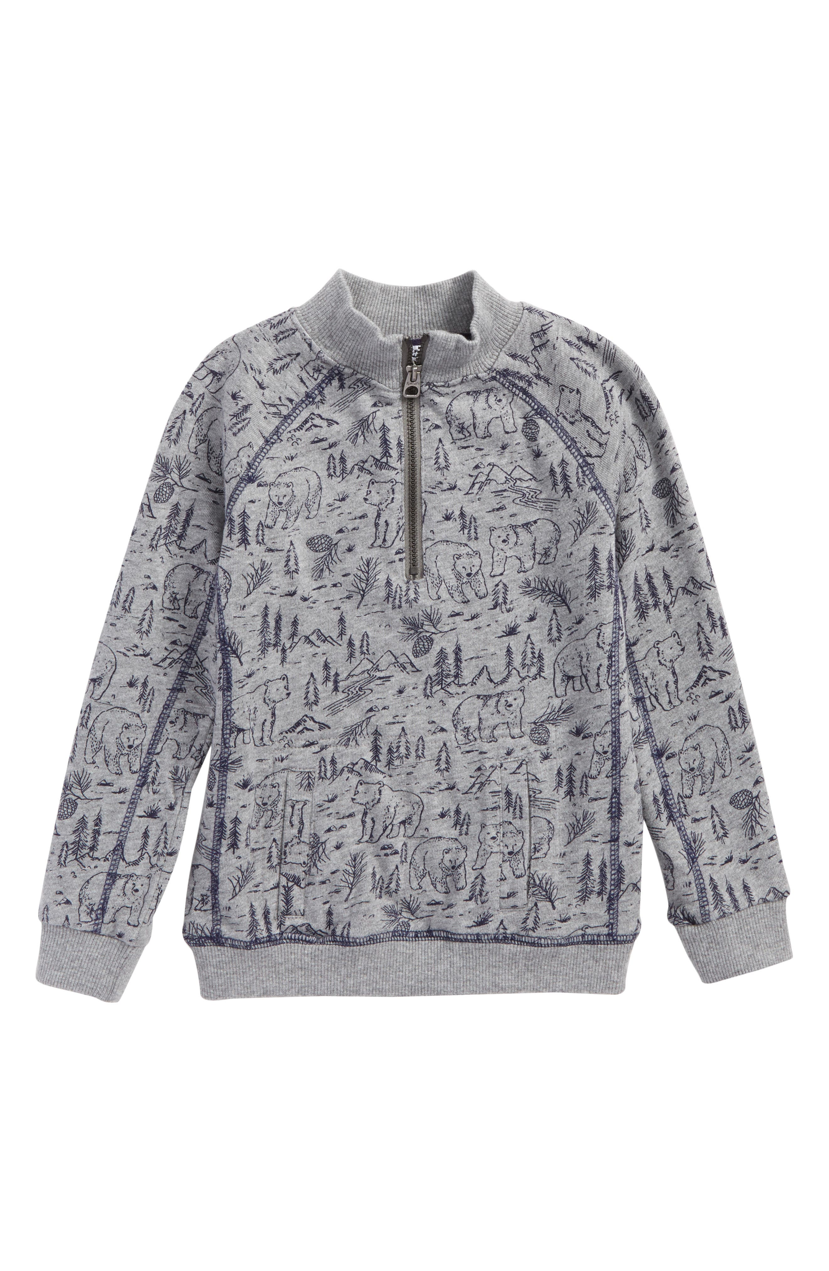 Print Quarter Zip Pullover,                         Main,                         color, Charcoal Grey Heather