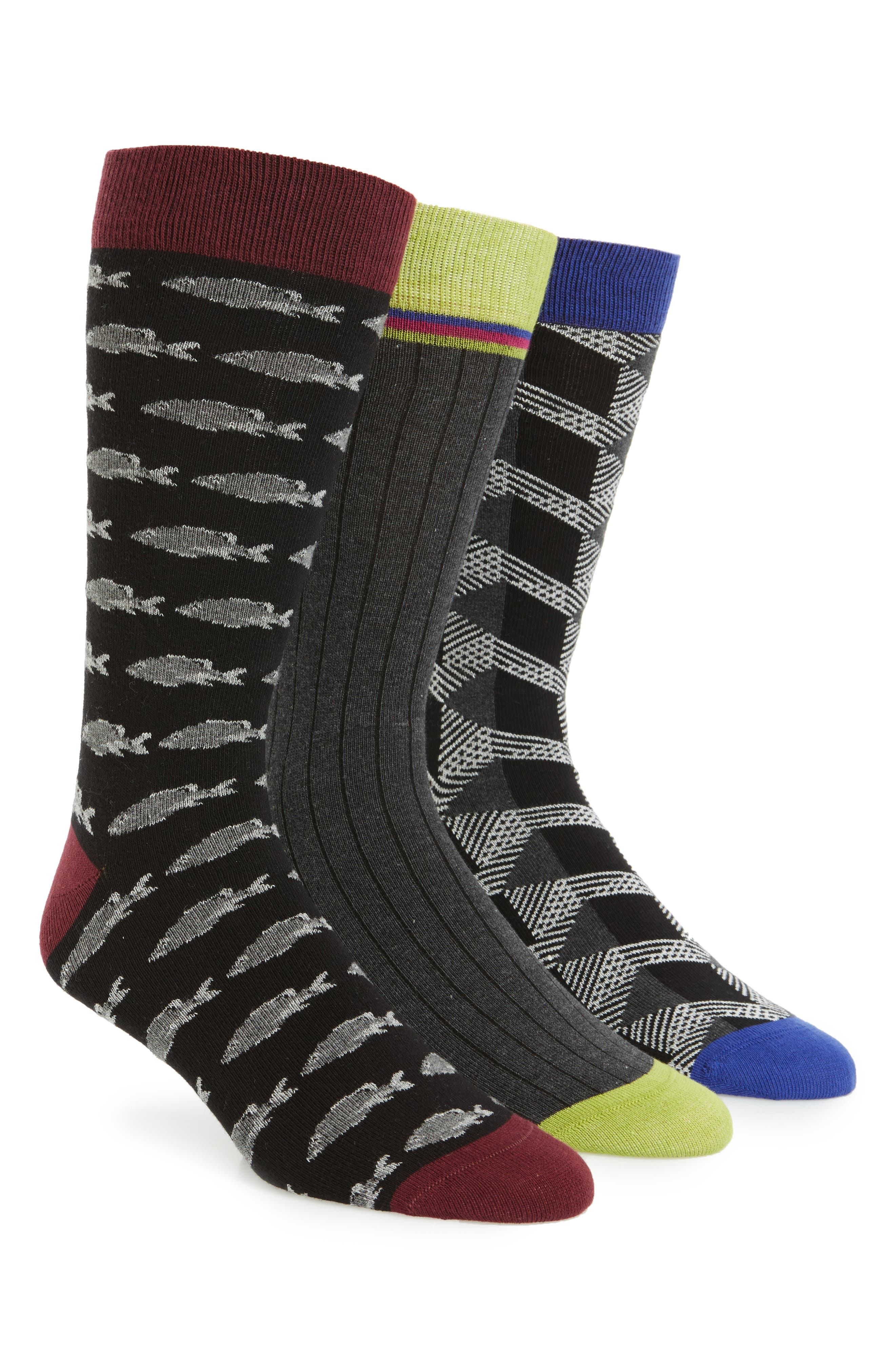 Ted Baker London Assorted 3-Pack Crew Socks
