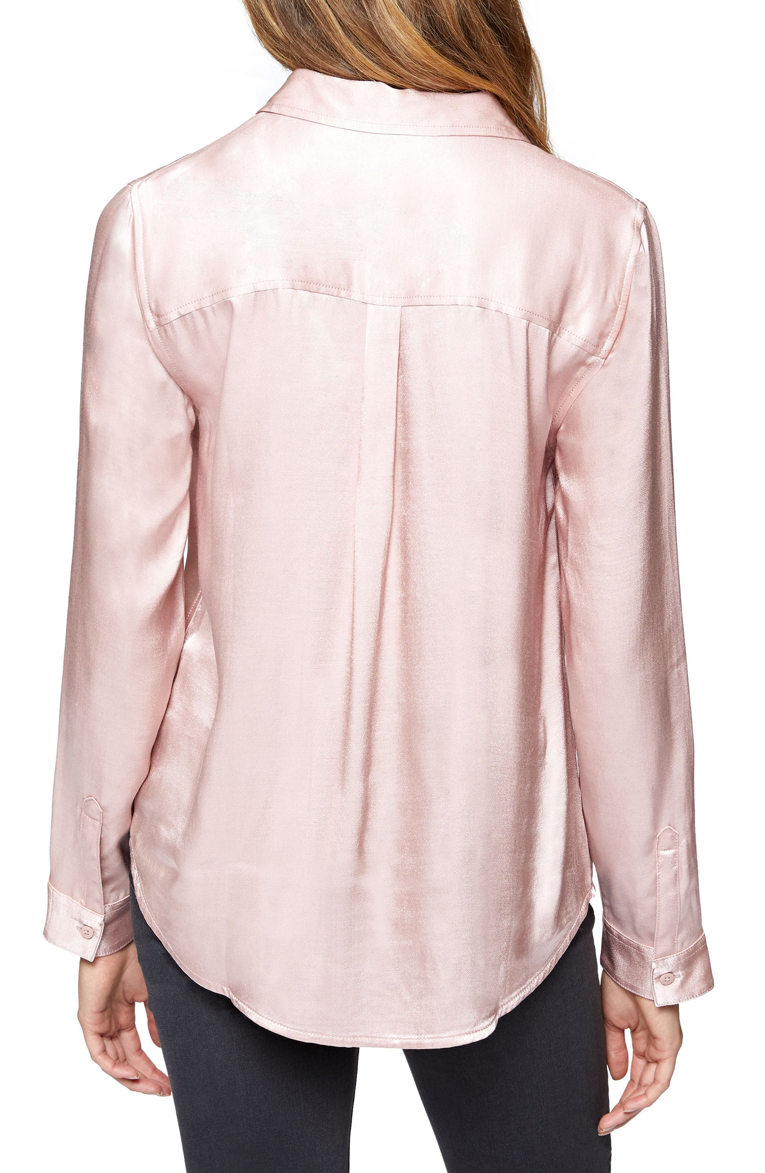 Dreamer Tie Front Shirt,                             Alternate thumbnail 2, color,                             Celestial Pink