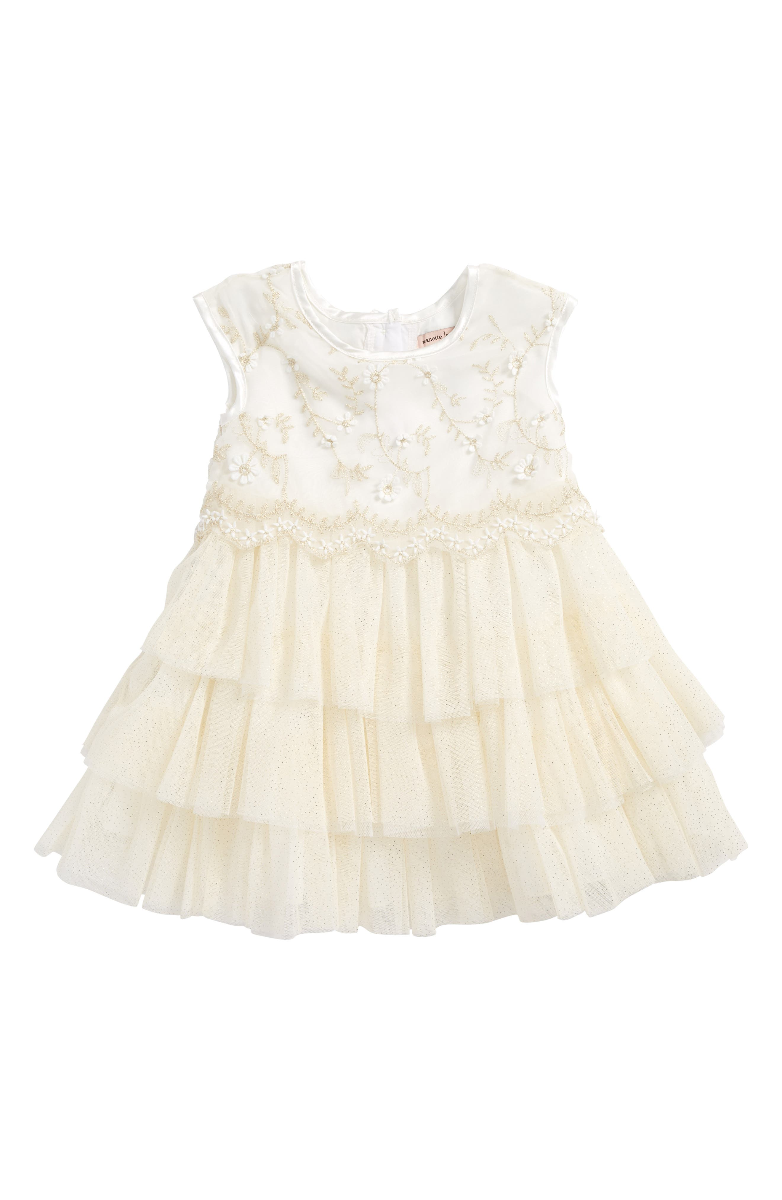 Embroidered Tulle Dress,                         Main,                         color, Cream