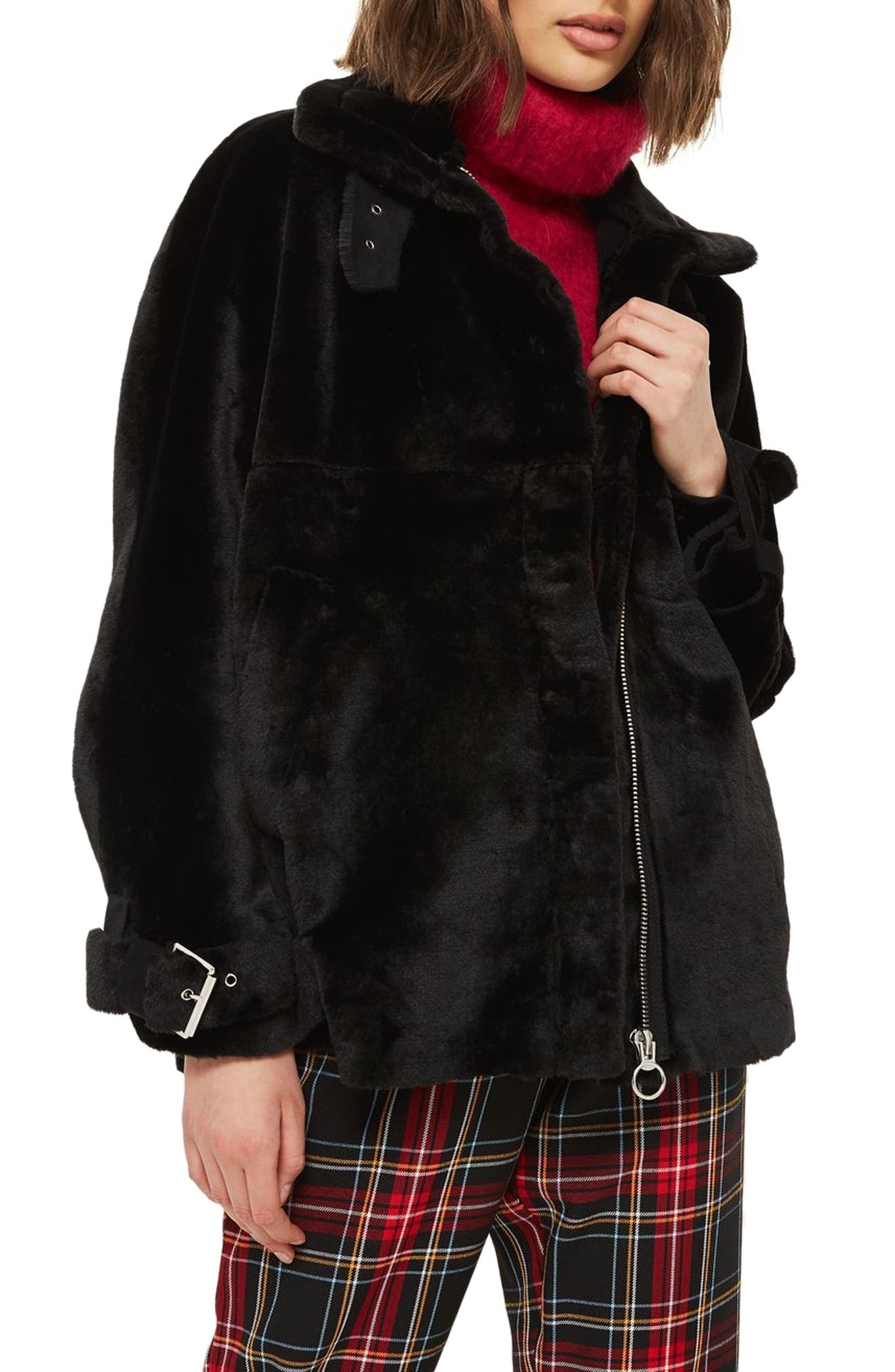 Faux Fur Buckle Biker Jacket,                             Main thumbnail 1, color,                             Black