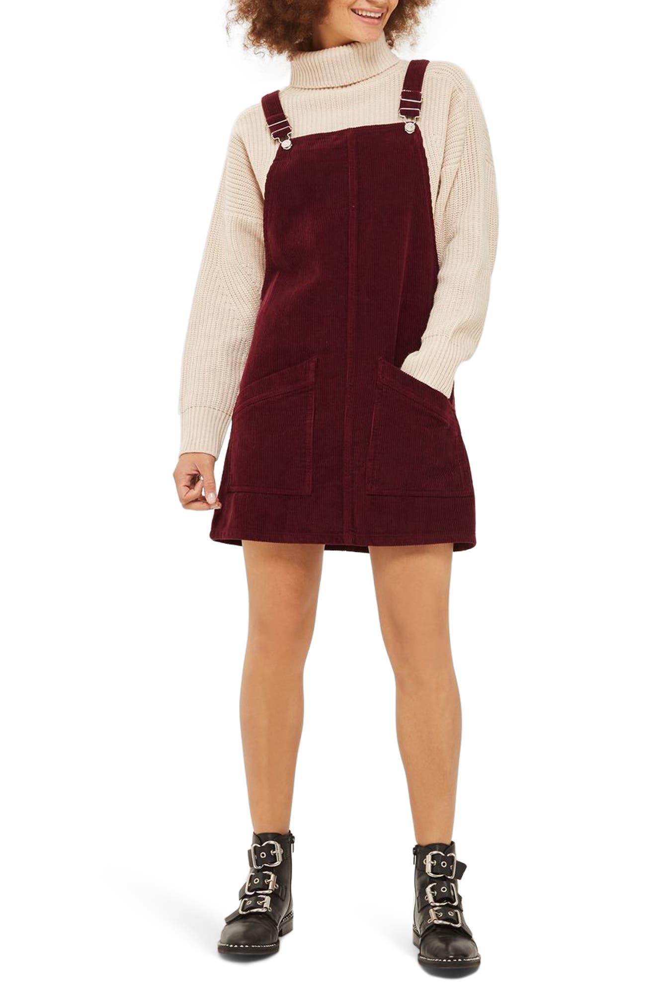 Corduroy Pinafore Dress,                         Main,                         color, Burgundy