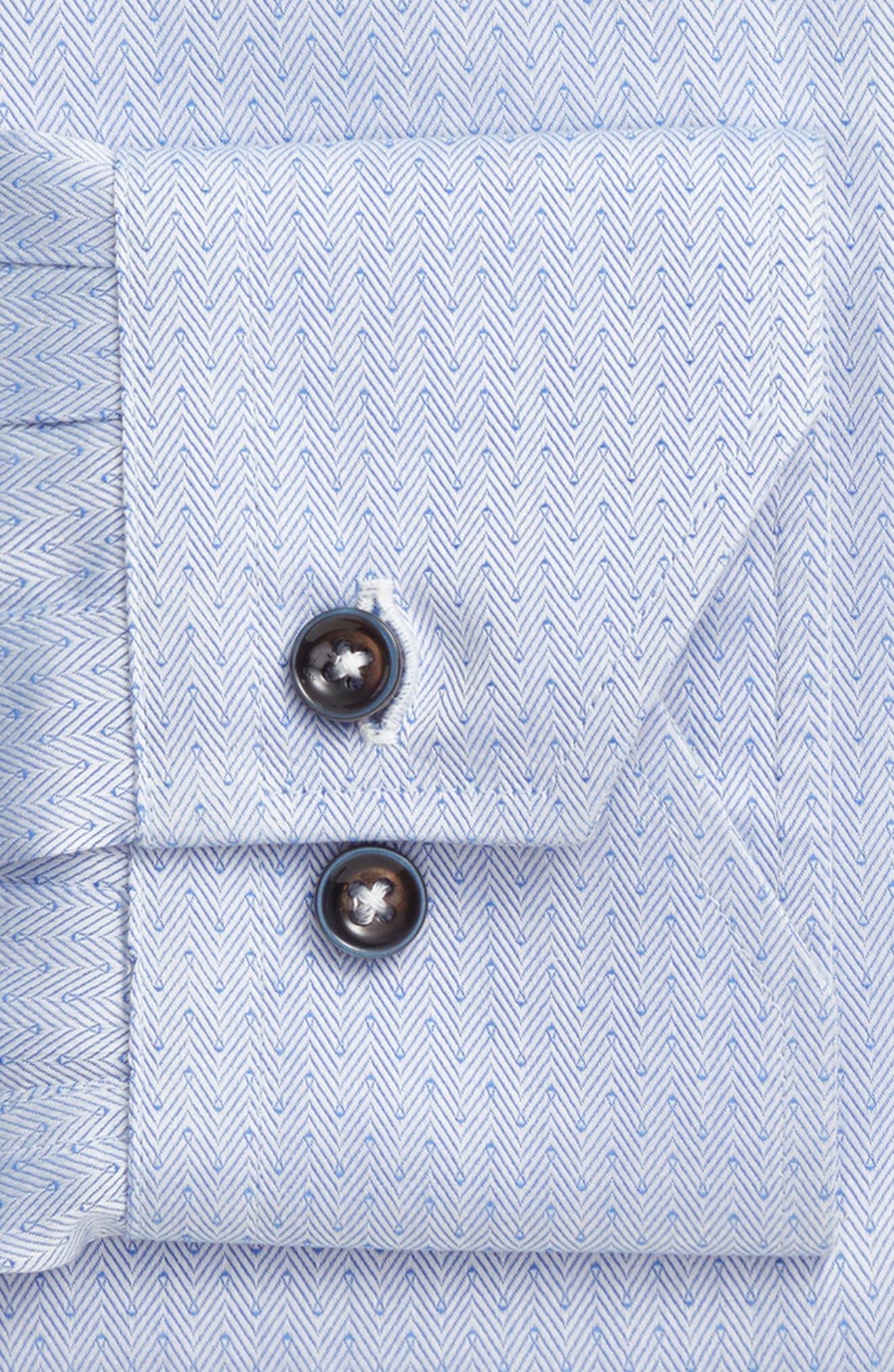 Trim Fit Herringbone Dress Shirt,                             Alternate thumbnail 3, color,                             Light Blue