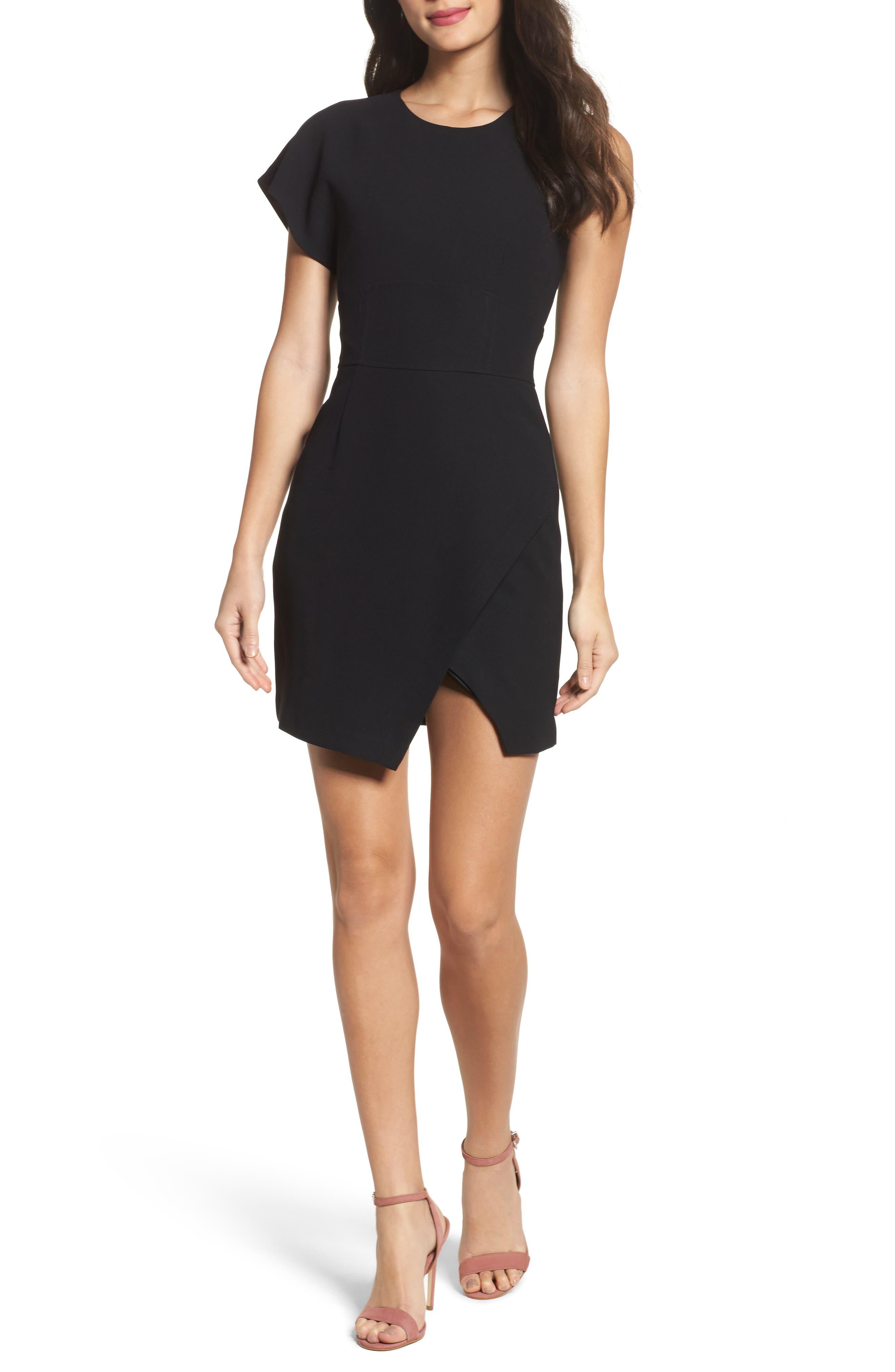 Maxwell Asymmetric Faux Wrap Dress,                         Main,                         color, Black