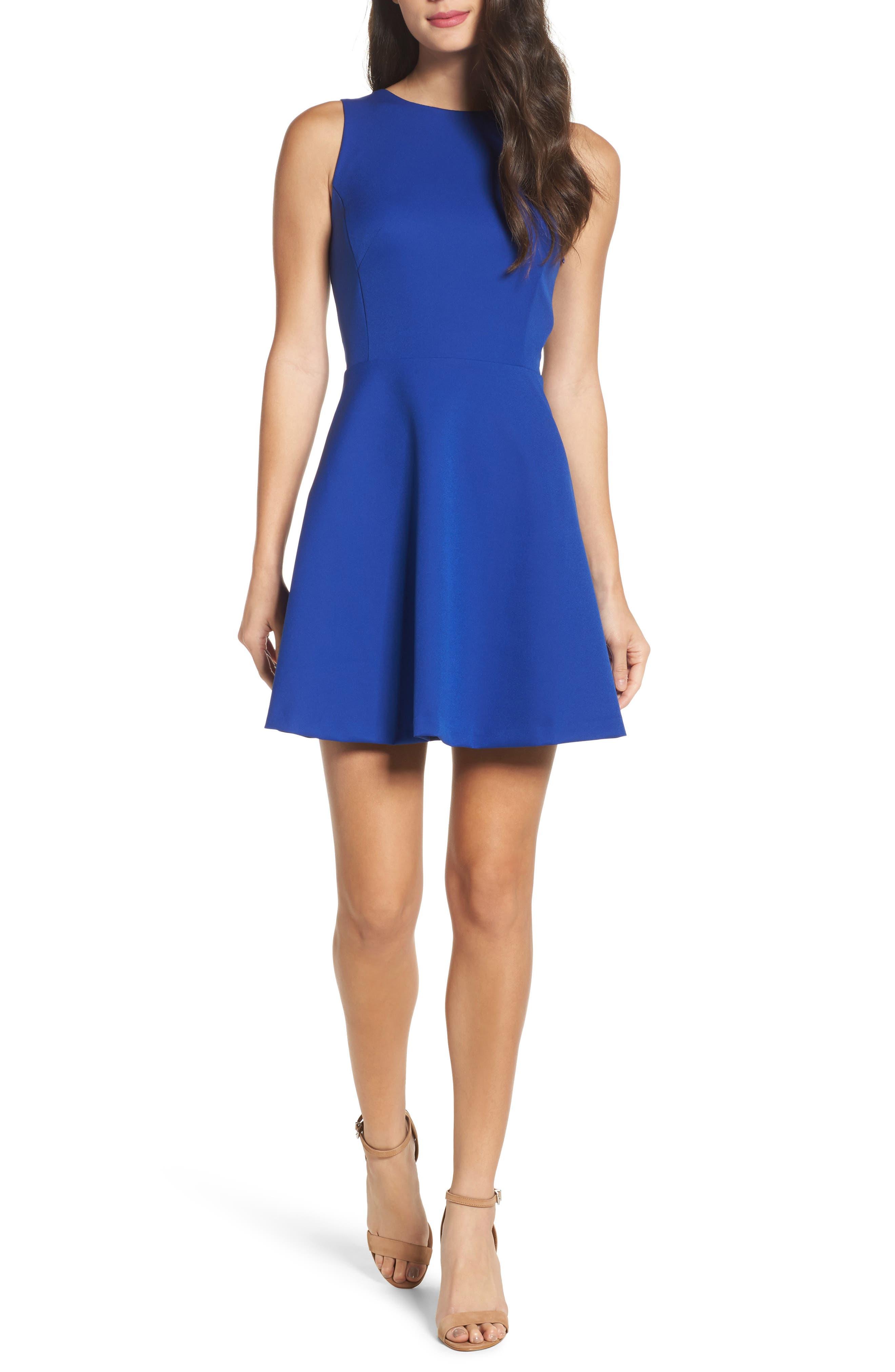 Barbara Fit & Flare Dress,                             Main thumbnail 1, color,                             Cobalt