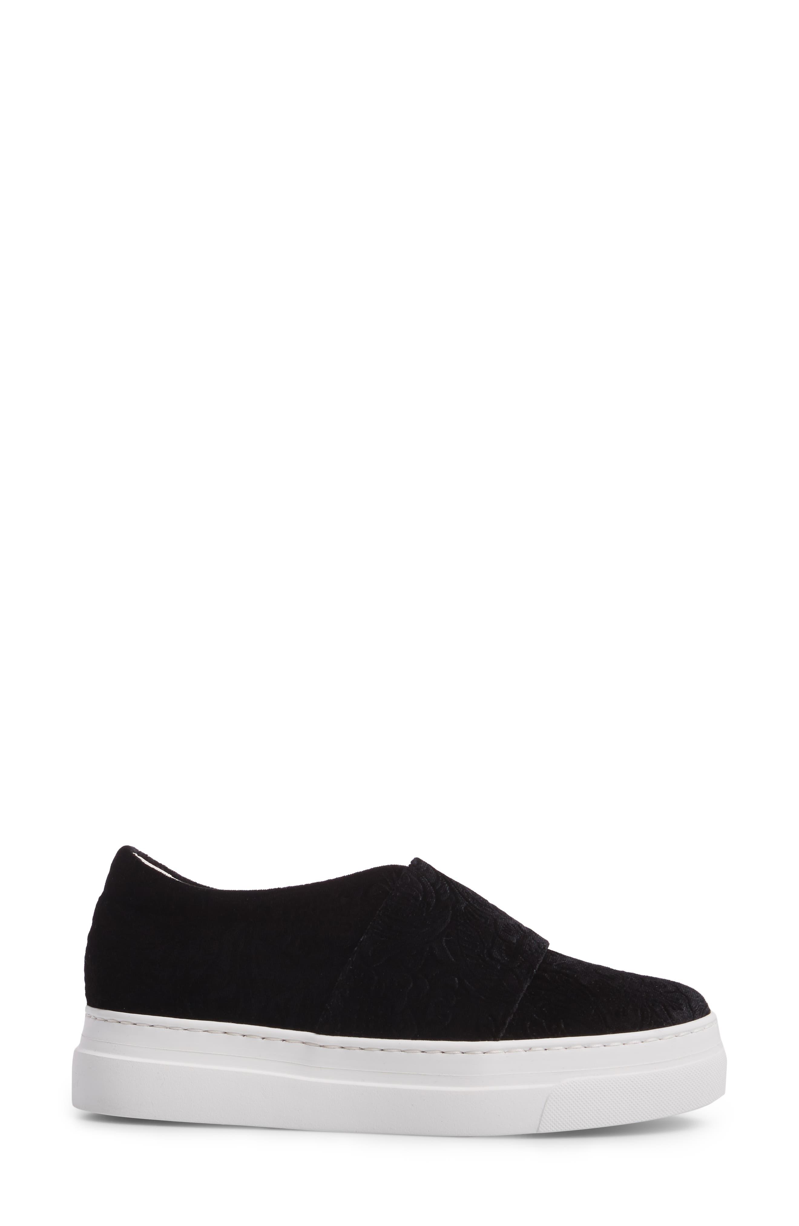 Arlo Slip-On Platform Sneaker,                             Alternate thumbnail 3, color,                             Black Embossed Velvet
