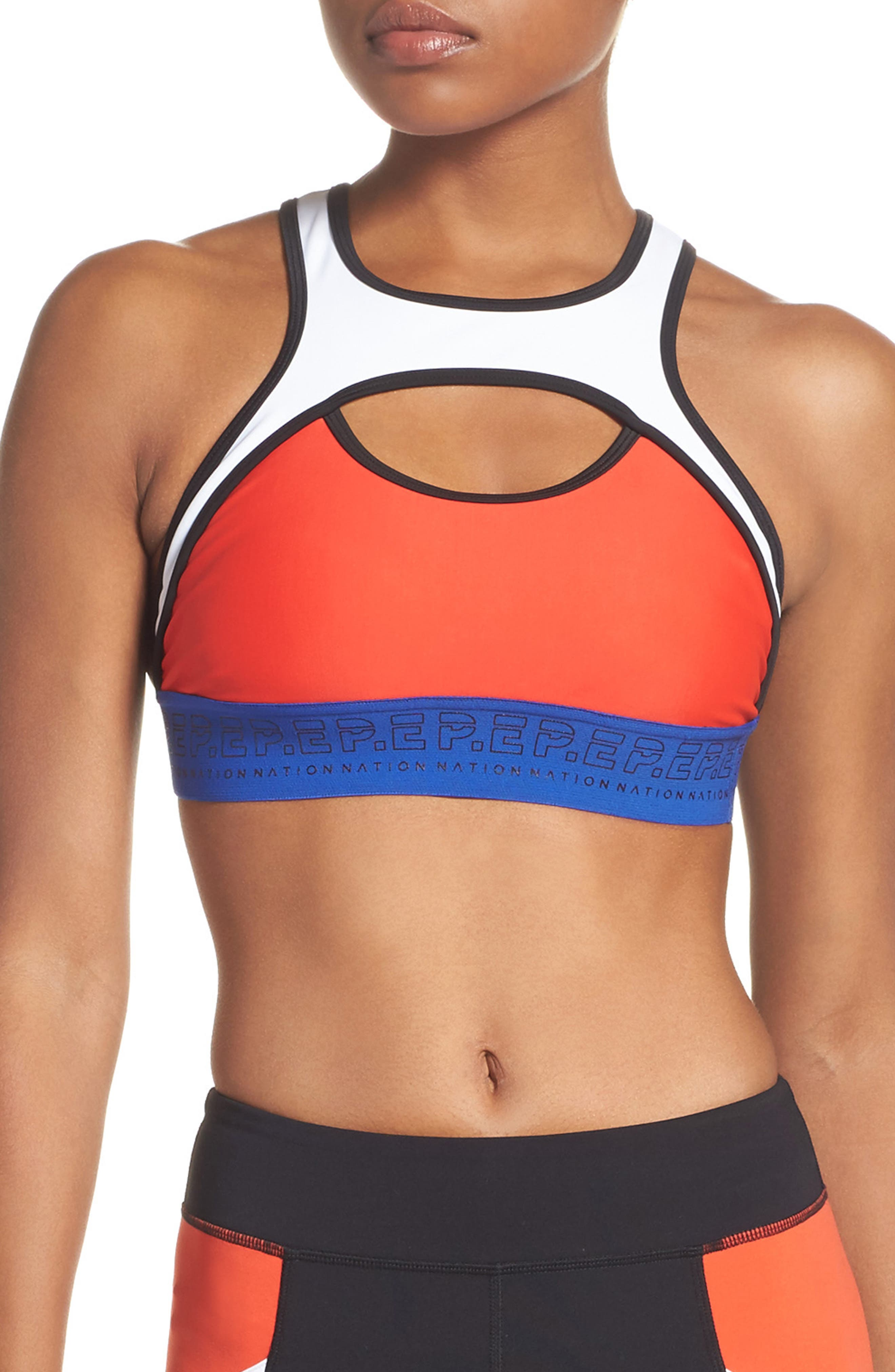 Sports Bra,                             Main thumbnail 1, color,                             Red