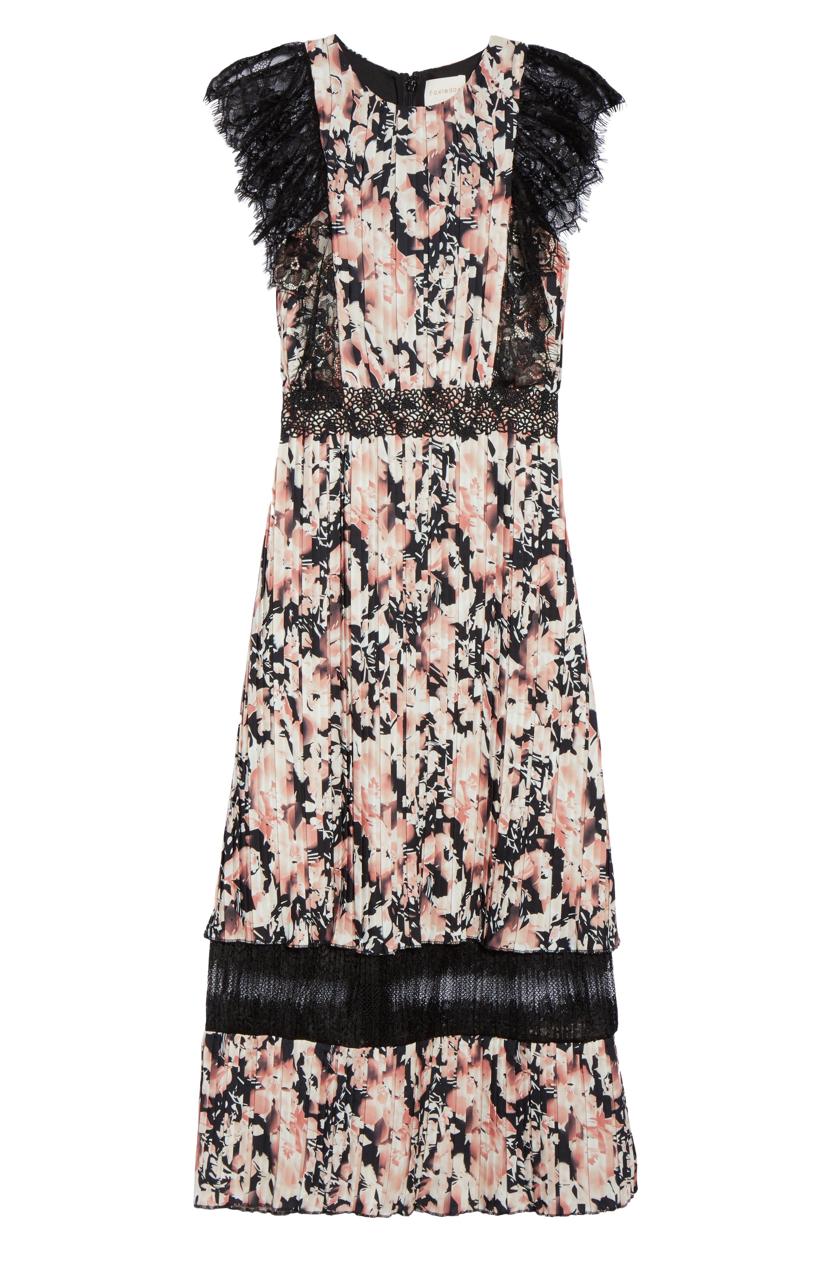 Alternate Image 6  - Foxiedox Jasmine Lace Trim Pleated Floral Midi Dress