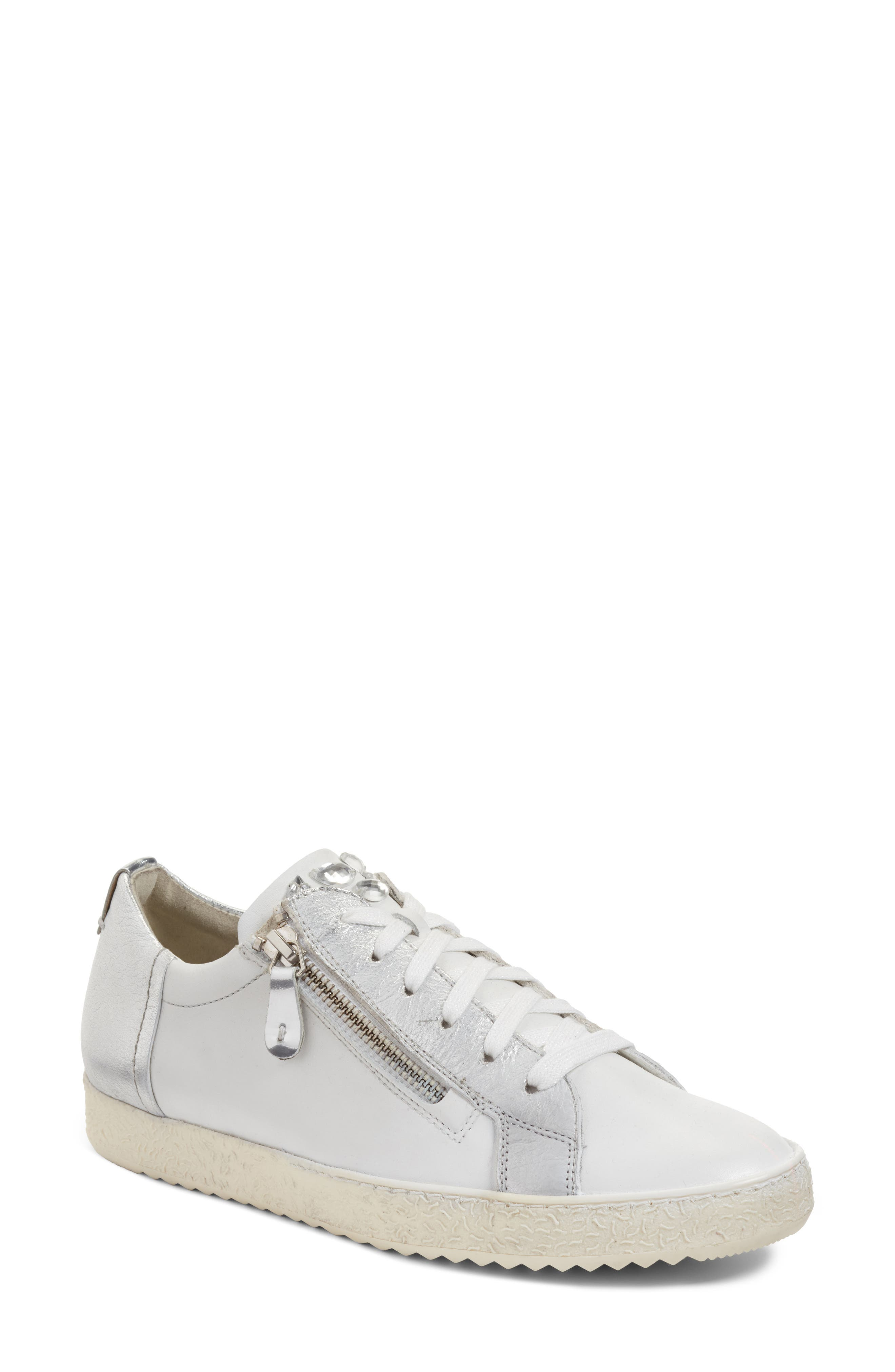 Minnie Sneaker,                         Main,                         color, White/ Silver Leather