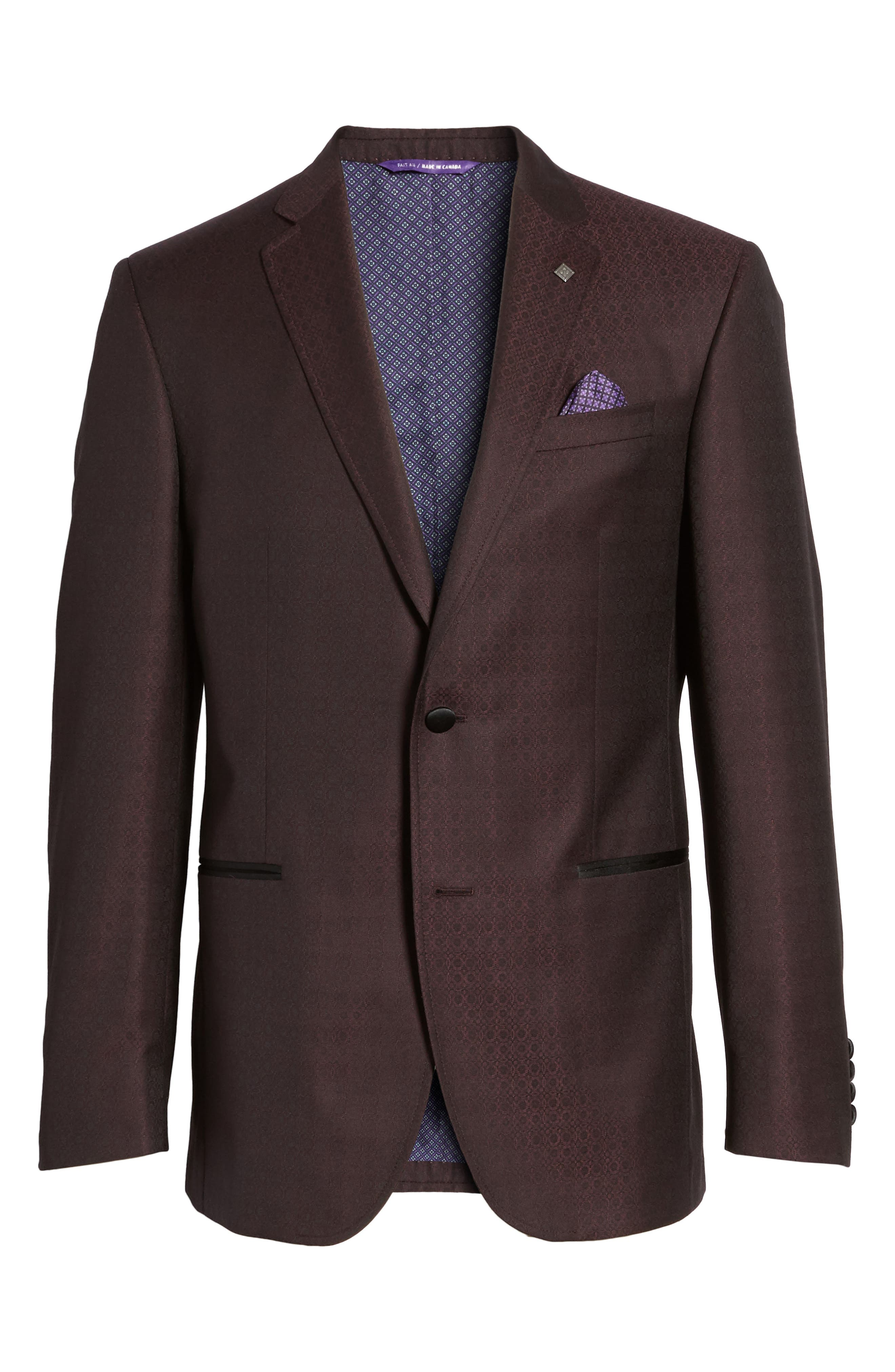 Jack Trim Fit Wool Dinner Jacket,                             Alternate thumbnail 6, color,                             Burgundy