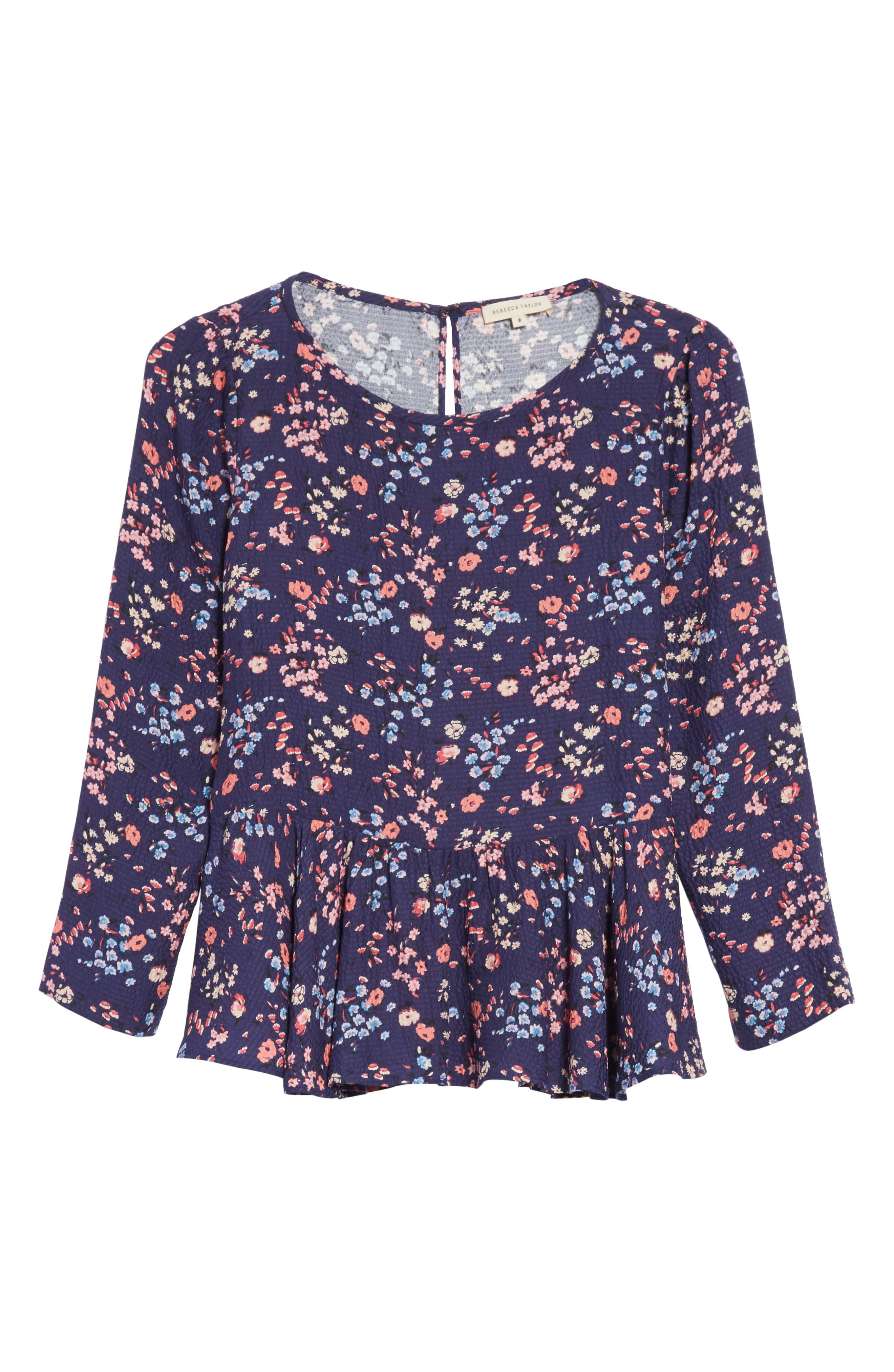 Woodland Floral Print Silk Top,                             Alternate thumbnail 6, color,                             Deep Violet Combo