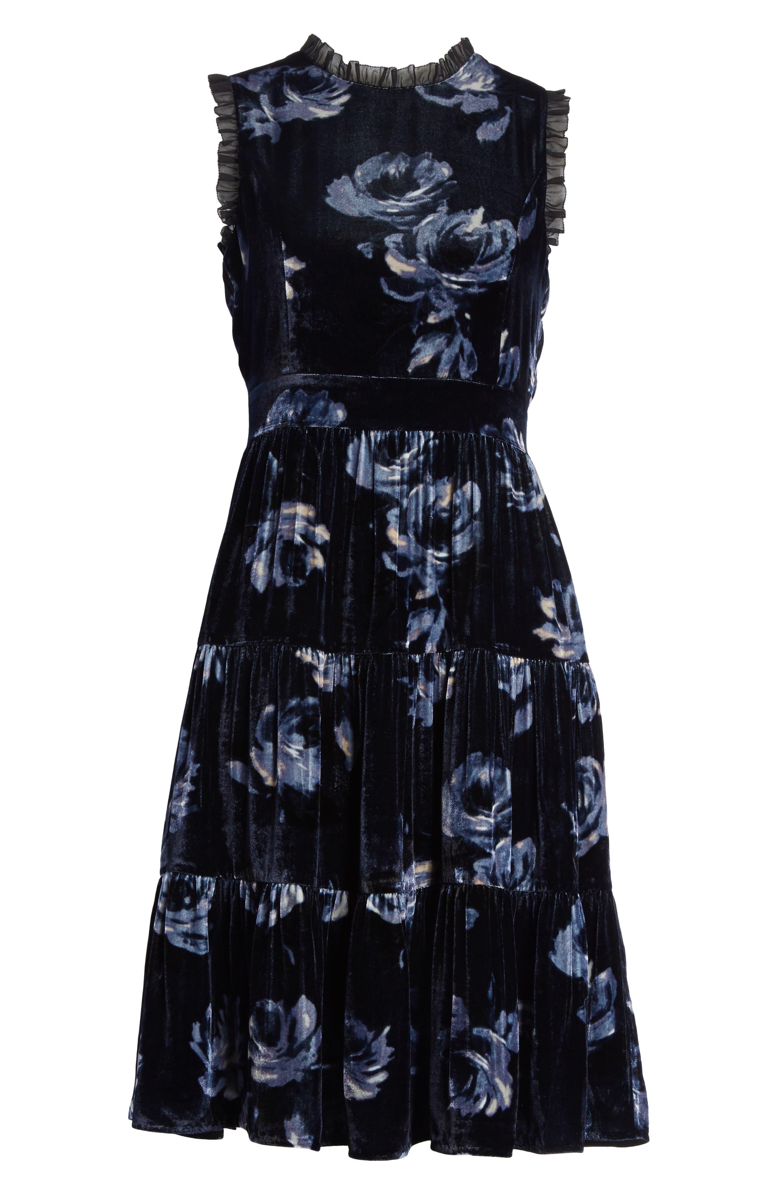 night rose velvet dress,                             Alternate thumbnail 6, color,                             Rich Navy