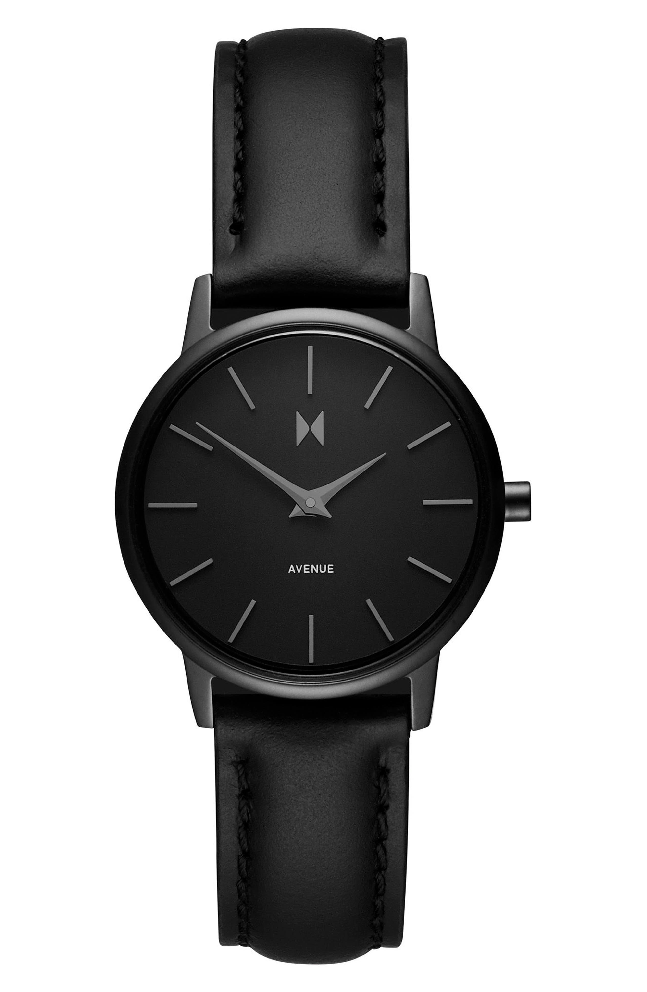 Belamar Leather Strap Watch, 28mm,                         Main,                         color, Black