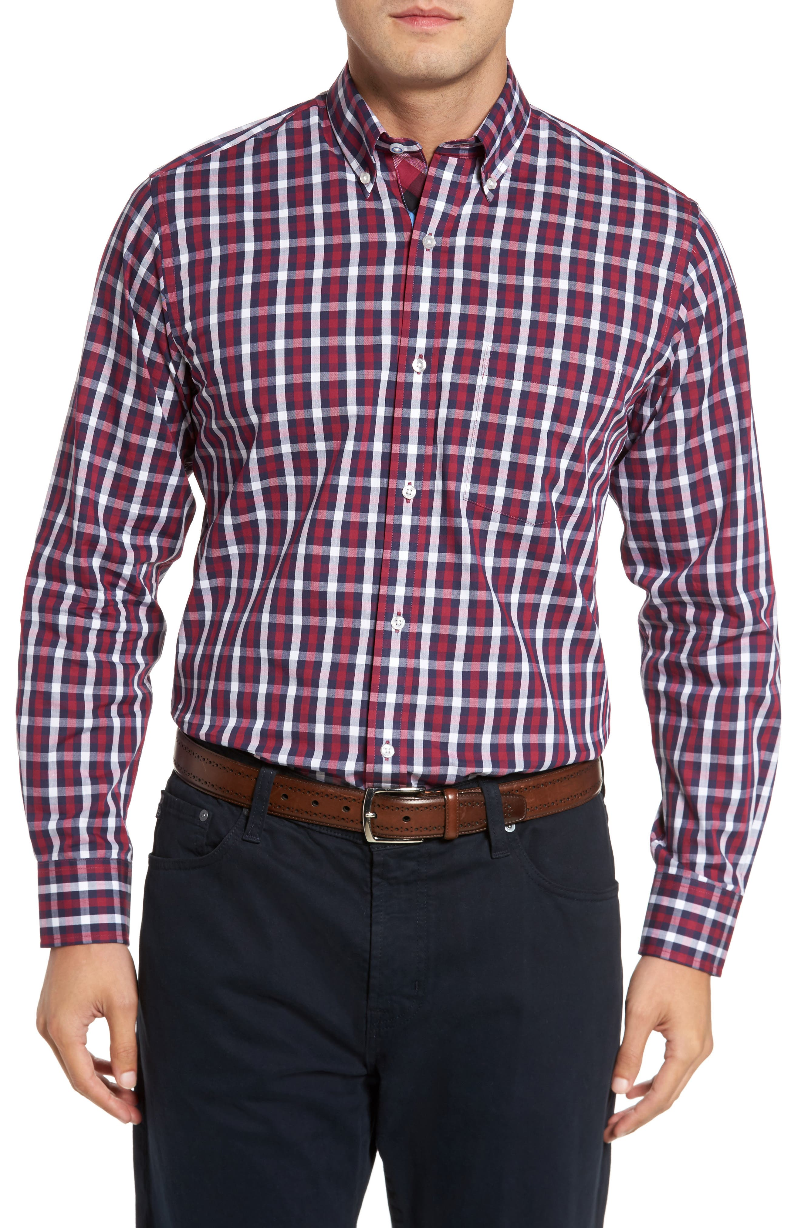 Covington Check Sport Shirt,                         Main,                         color, Merlot