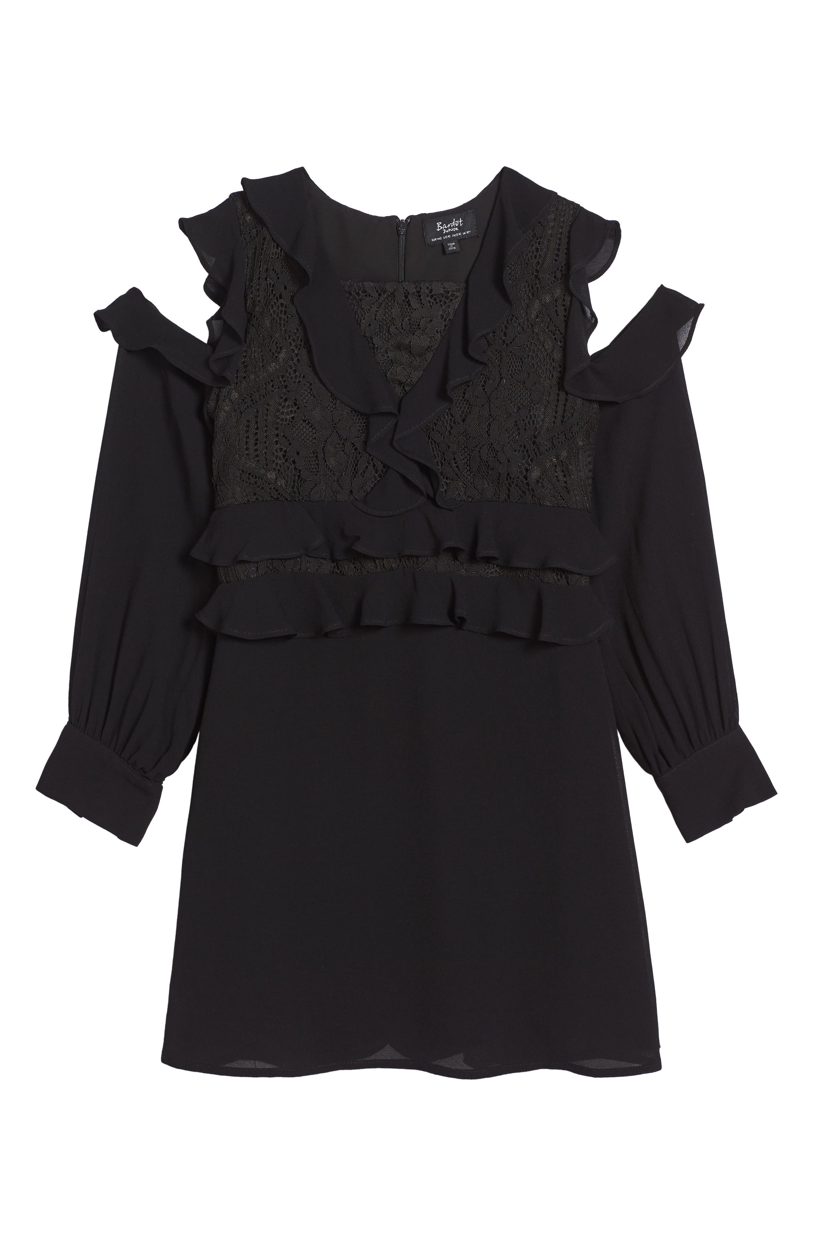 Ruffle Cold Shoulder Dress,                         Main,                         color, Black